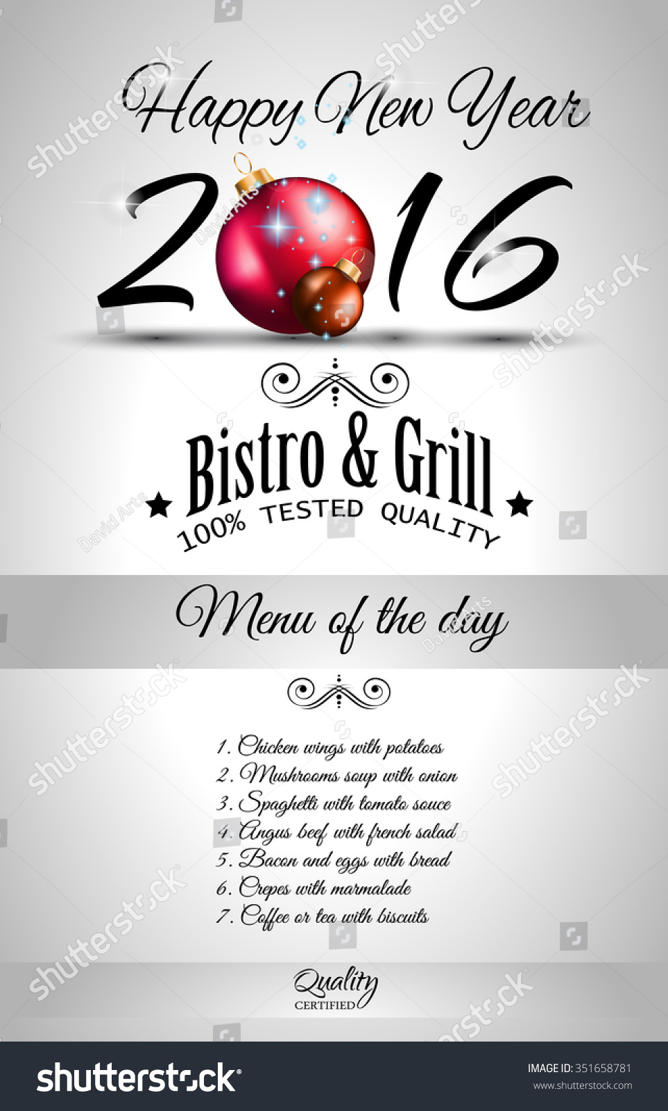 2016 happy new year restaurant menu stock vector royalty free