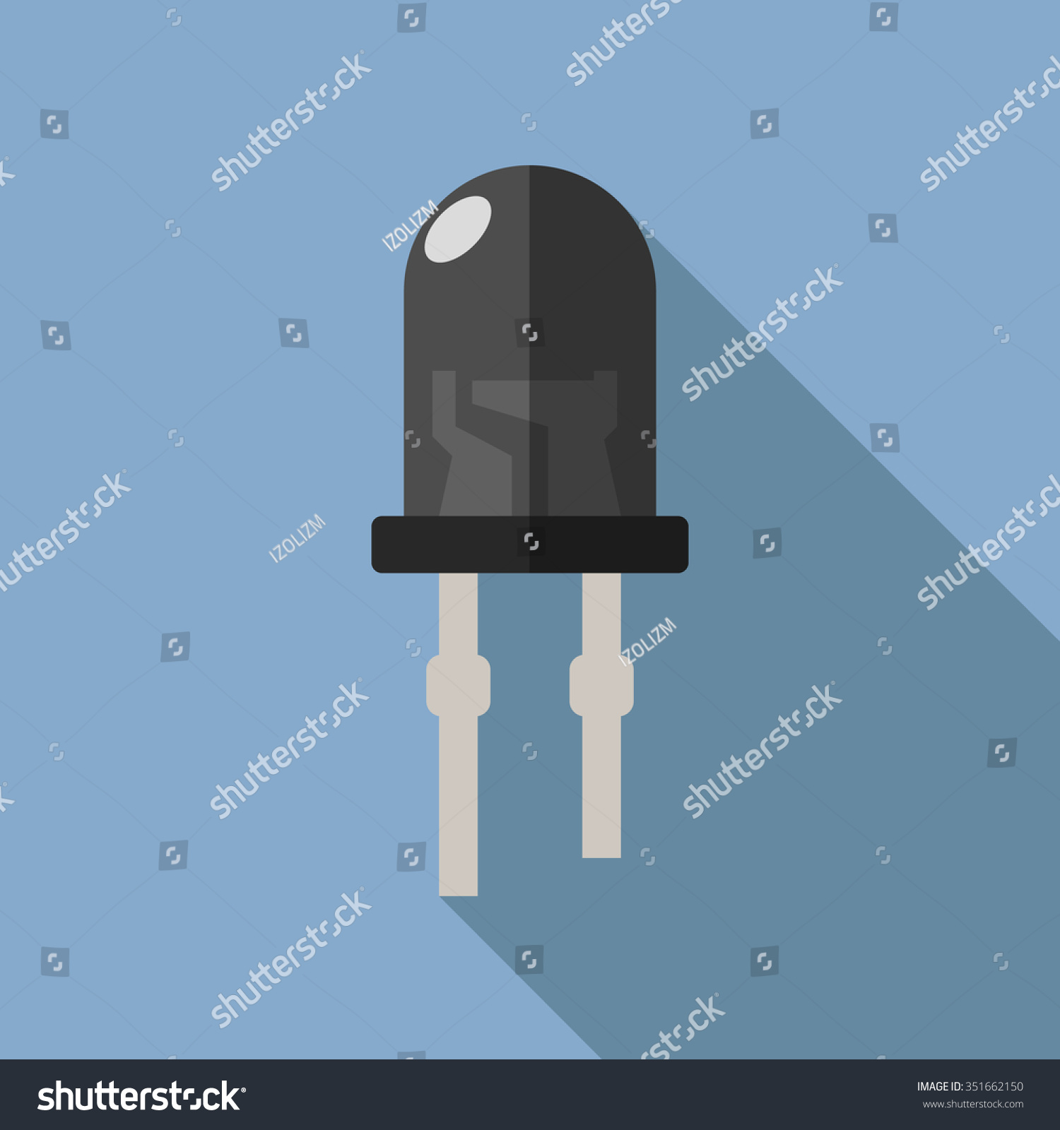 Led Infrared Vector Illustration Lightemitting Diode Stock Ledandlightcircuit Circuit Diagram Of Light Emitting In A Flat Style Design