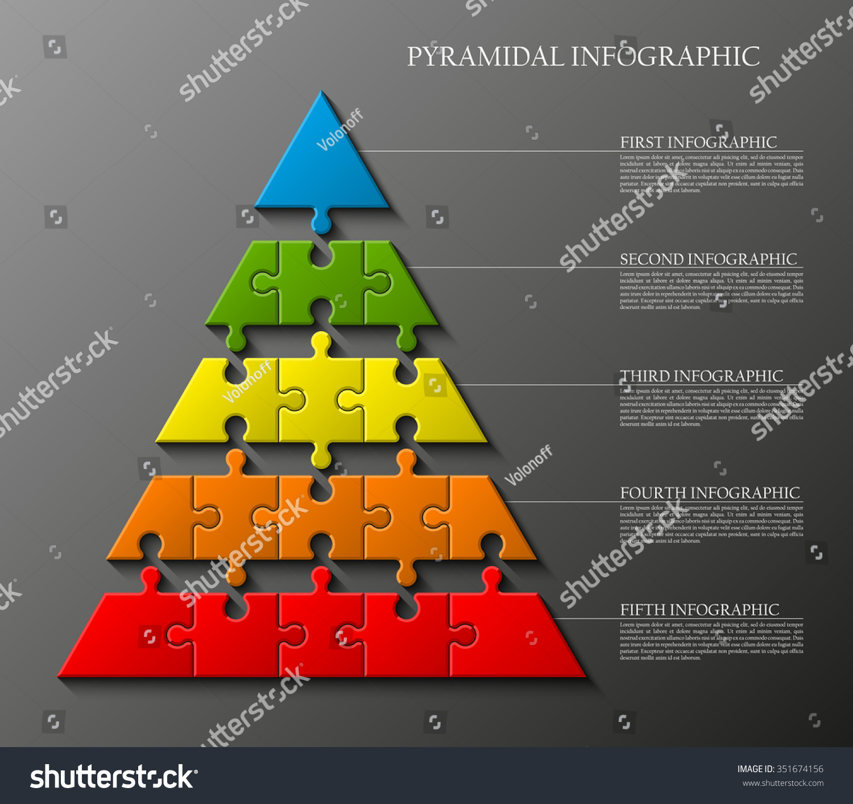 Five Levels Pyramid Presentation 17 Piece Stock Vector 351674156 ...