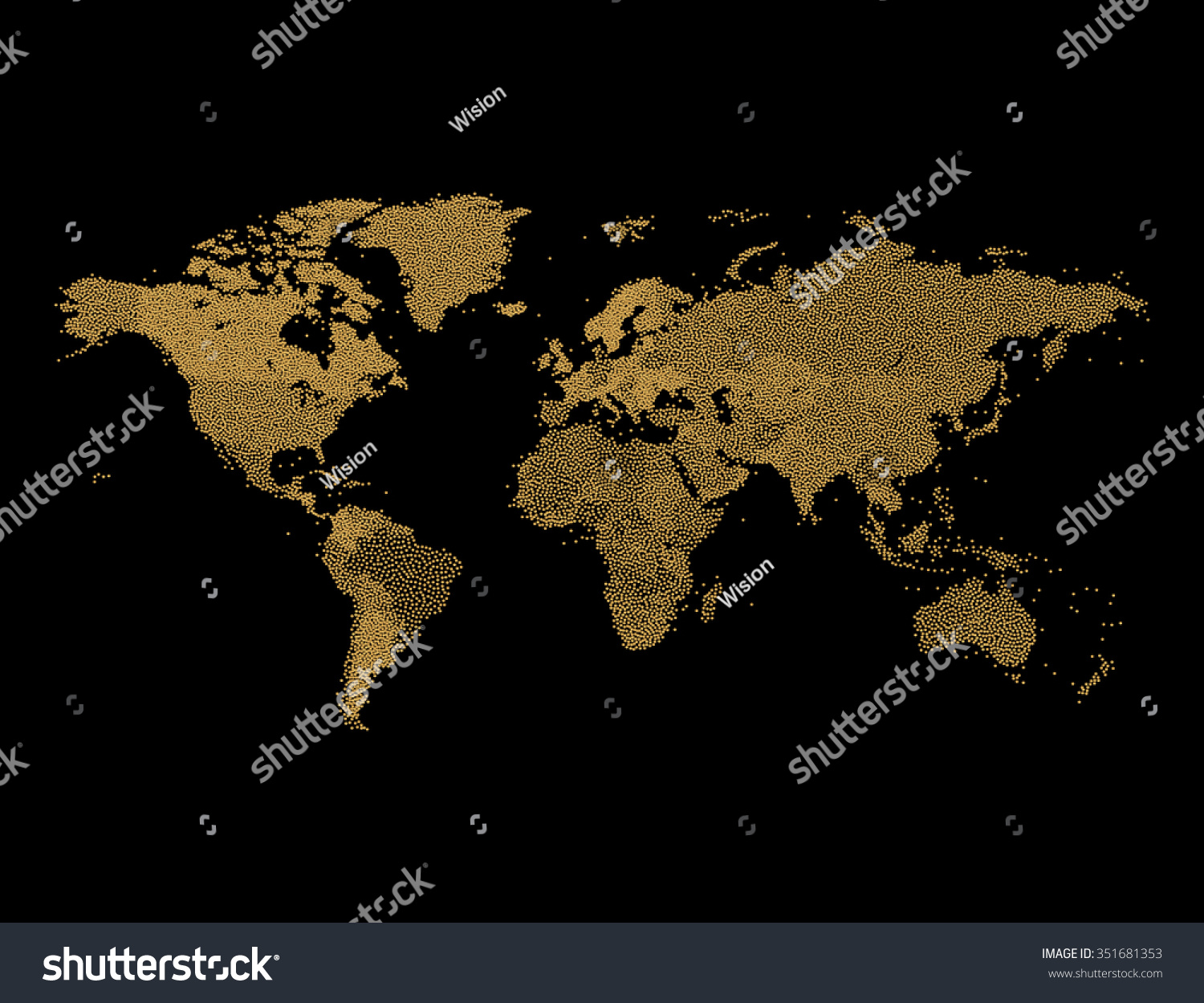 Gold Glitter World Map  Geographical Map Of Earth Made Of Glittering Dots