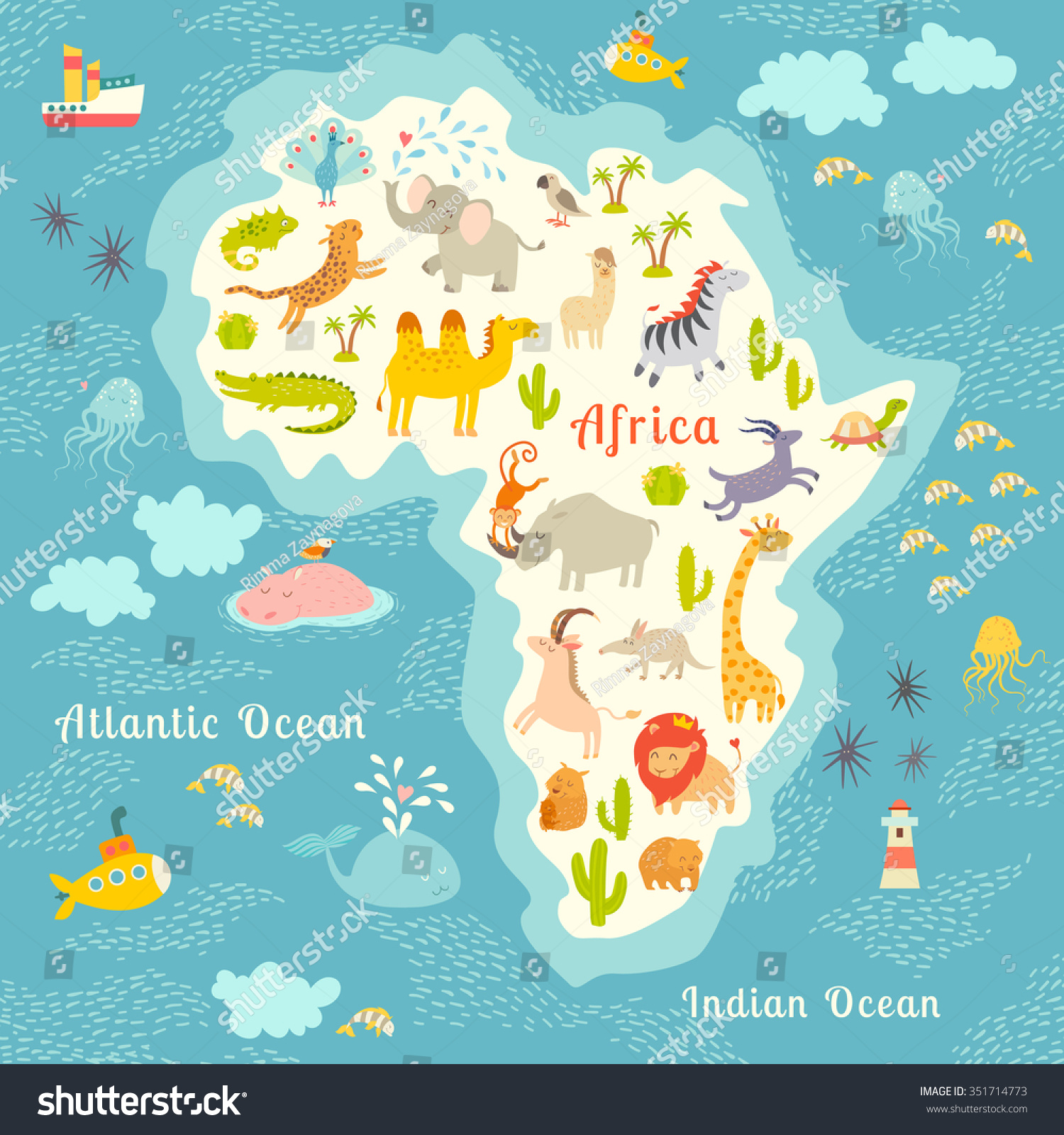 Animals World Map Africa Beautiful Colorful Stock Vector - Continents map for kids