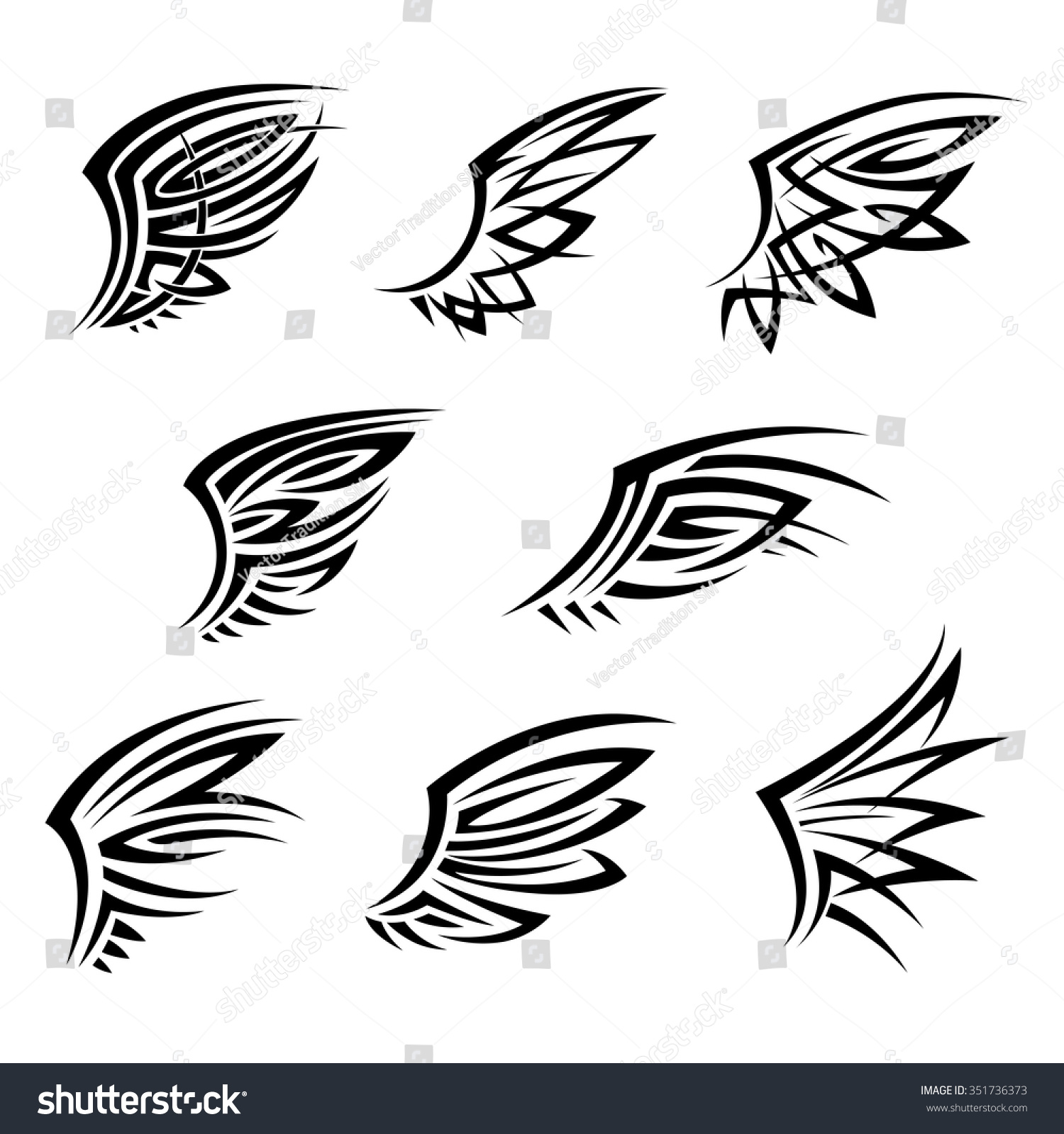 black tribal wings abstract decorative feathers stock vector 351736373 shutterstock. Black Bedroom Furniture Sets. Home Design Ideas
