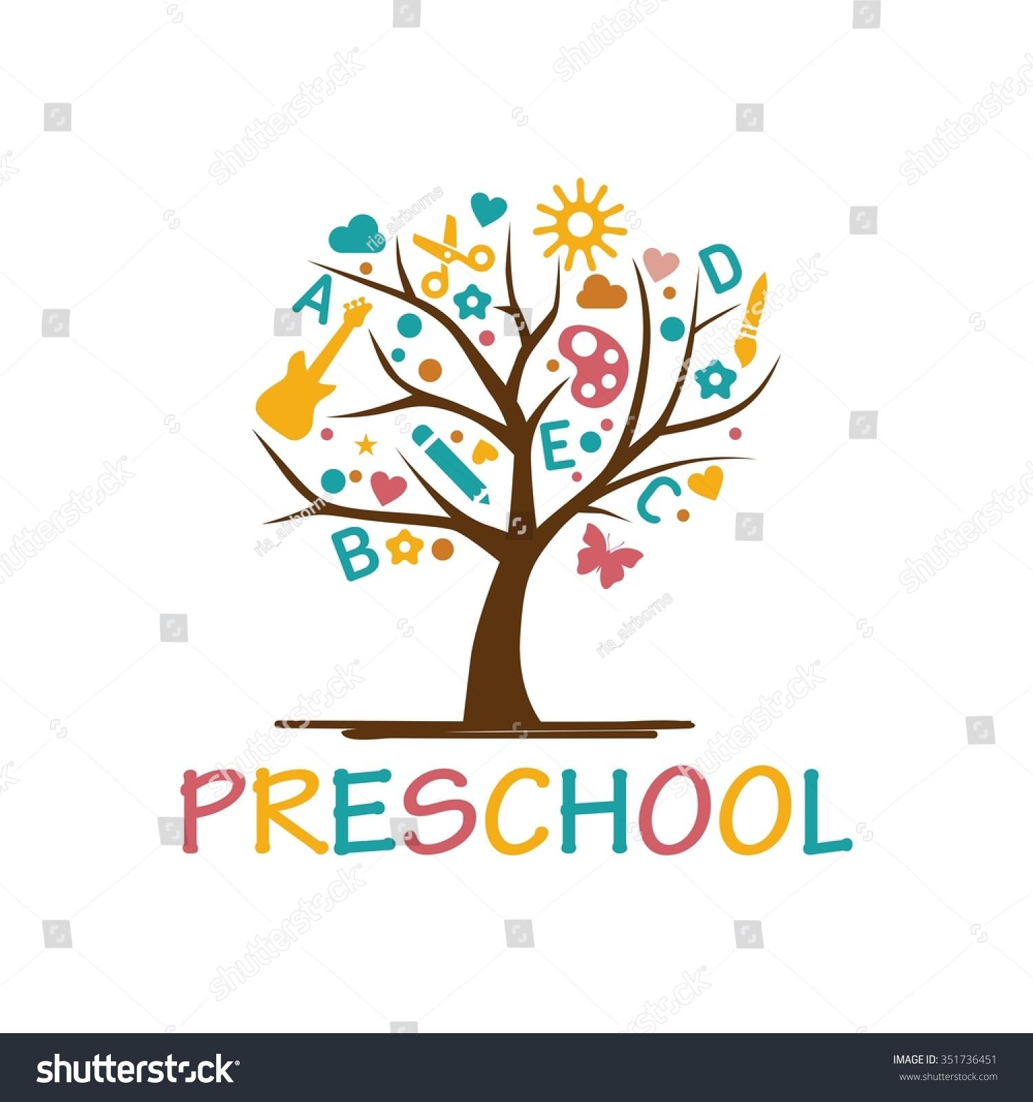playgroup preschool kindergarten logo template stock vector