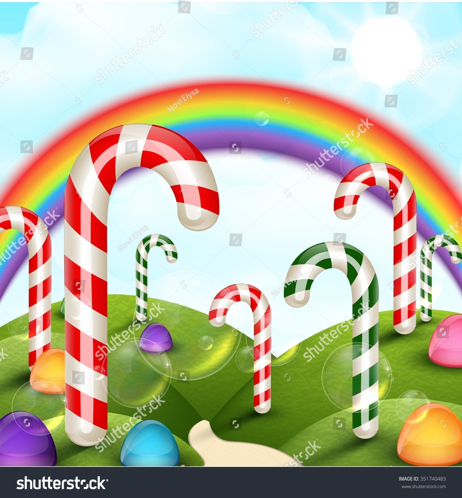 Candy Garden Background Rainbow Stock Illustration 351740483
