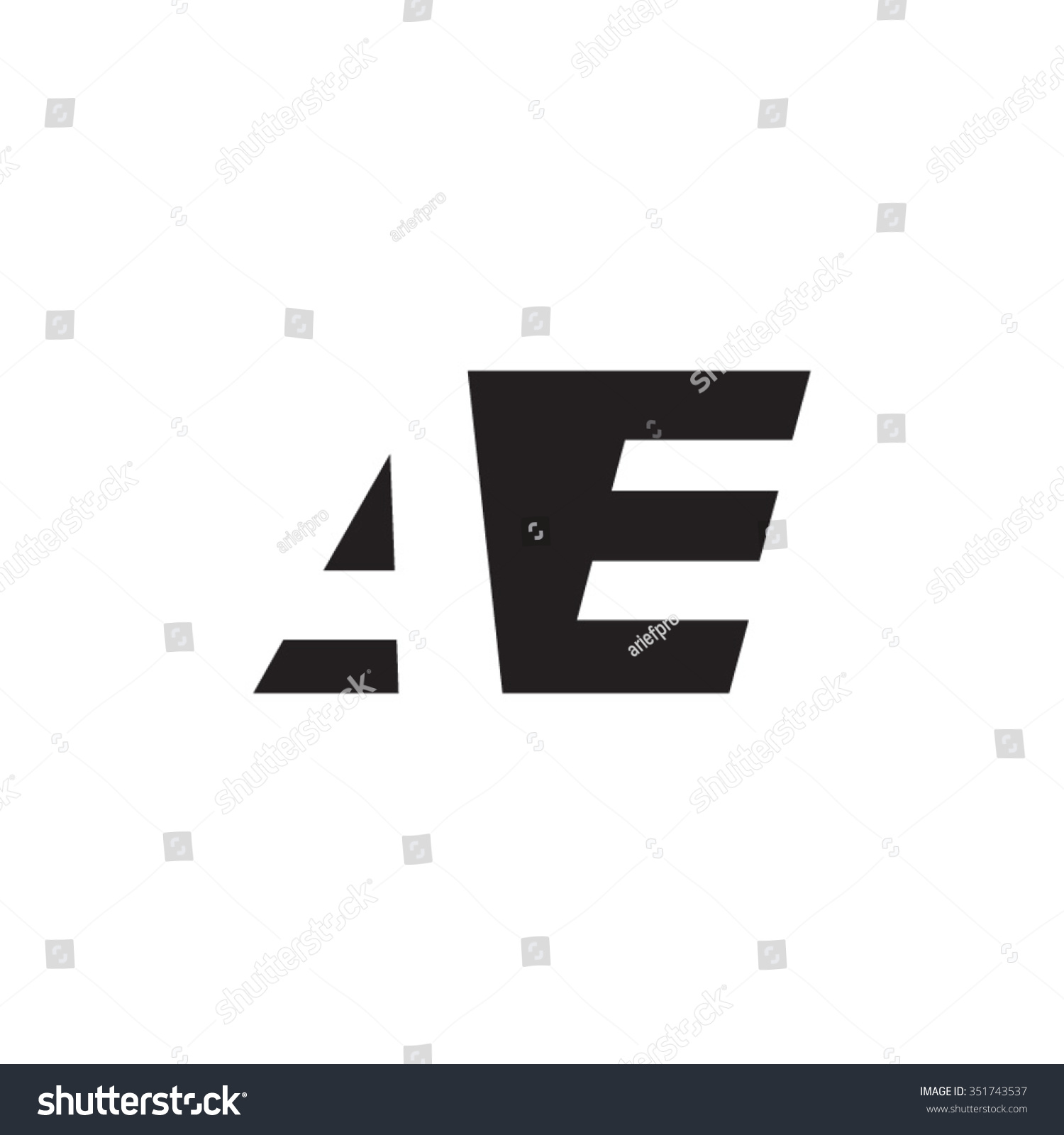 Stock Vector Ae Negative Space Letter Logo