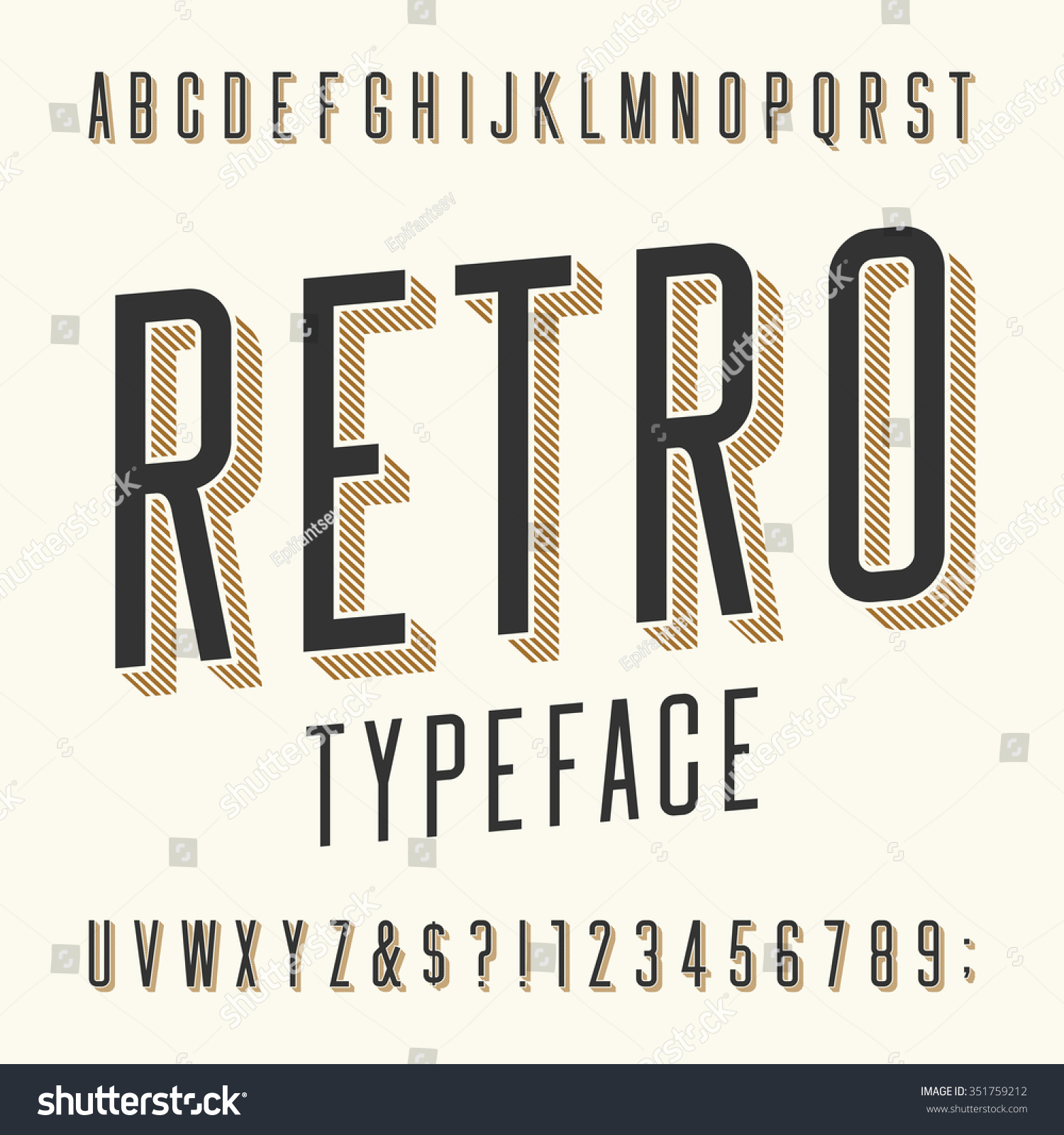 Retro typeface letters numbers symbols vintage stock for Classic house number fonts