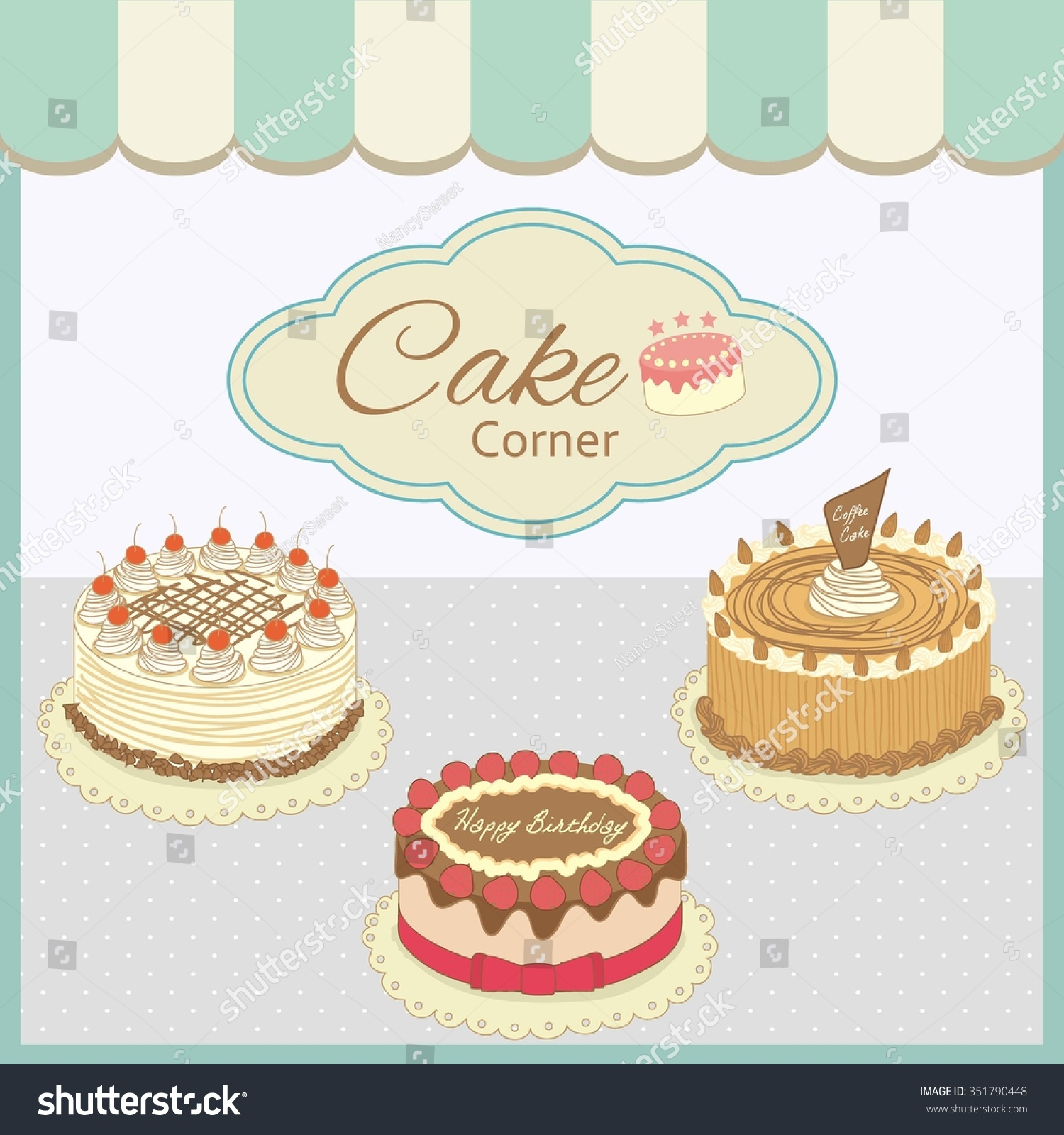 vector drawing bakery cafe cakes show stock vector 351790448