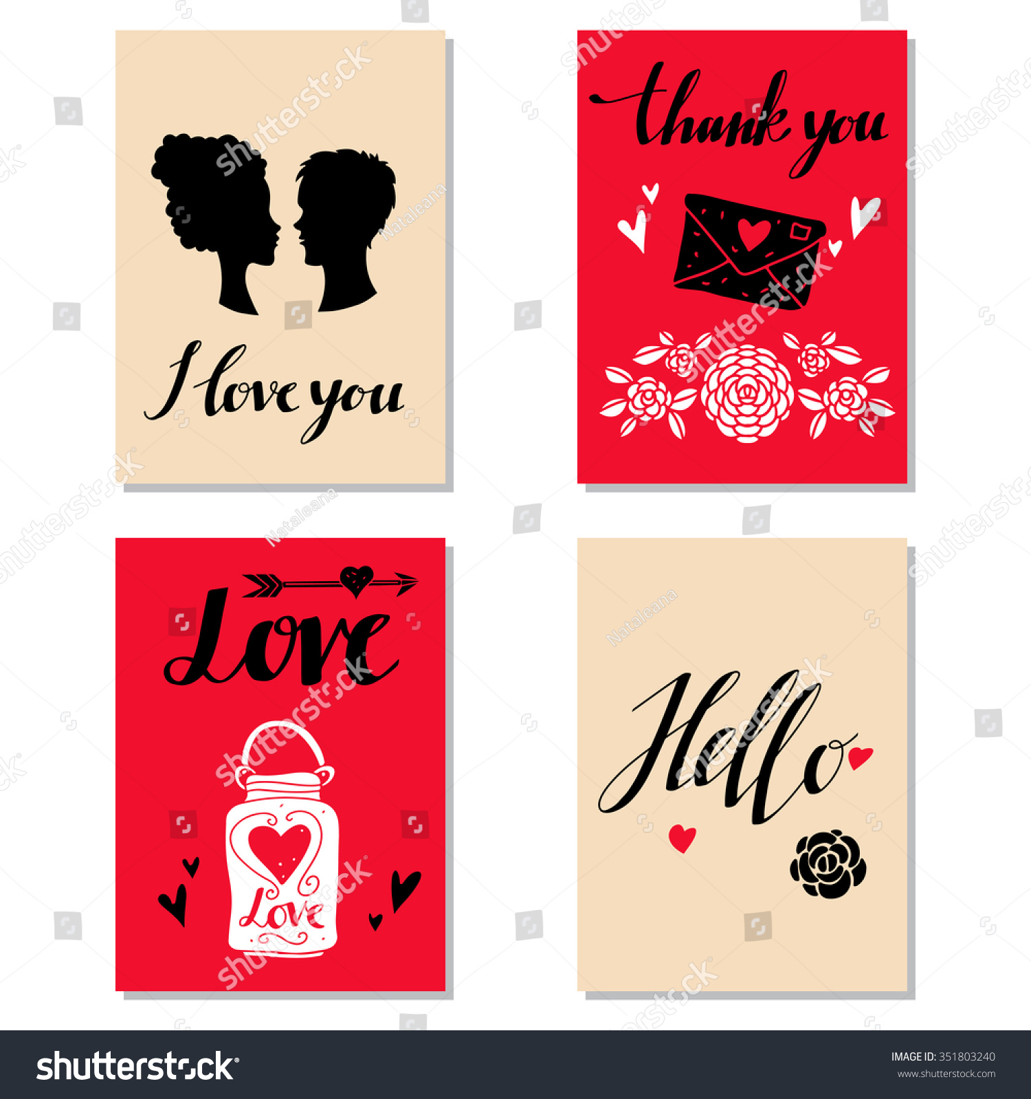 Greeting Valentines Day Cards Wedding Invitation Stock Photo (Photo ...
