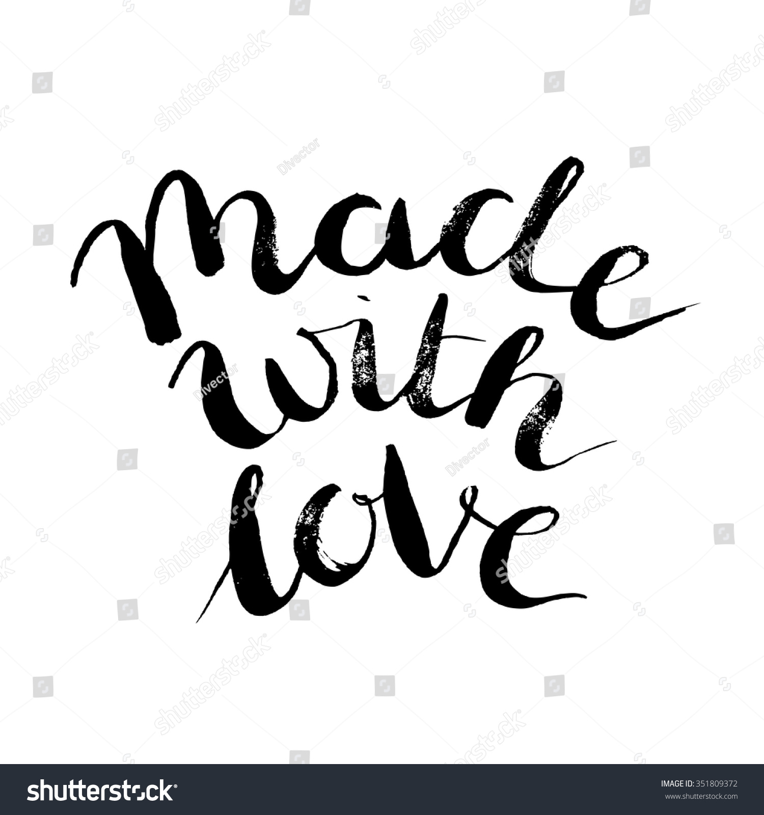 Made Love Brush Lettering Quote Packaging Stock Vector ...