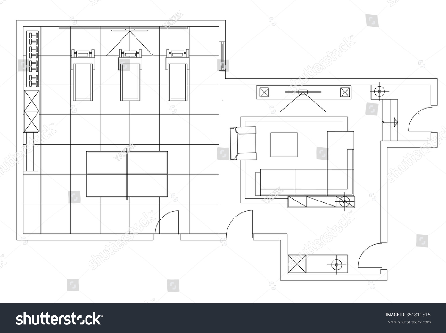 Standard Furniture Symbols Used Architecture Plans Stock Vector ...