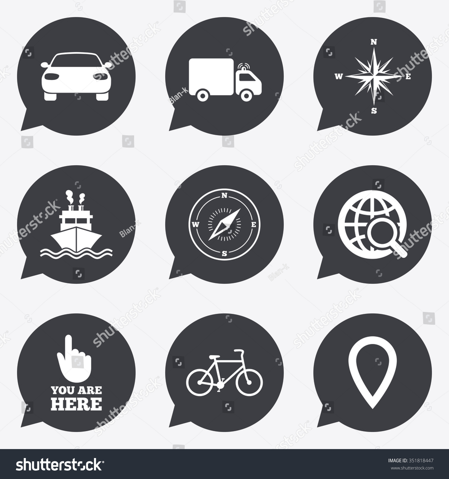 Navigation Gps Icons Windrose Compass Map Stock Vector Royalty Free