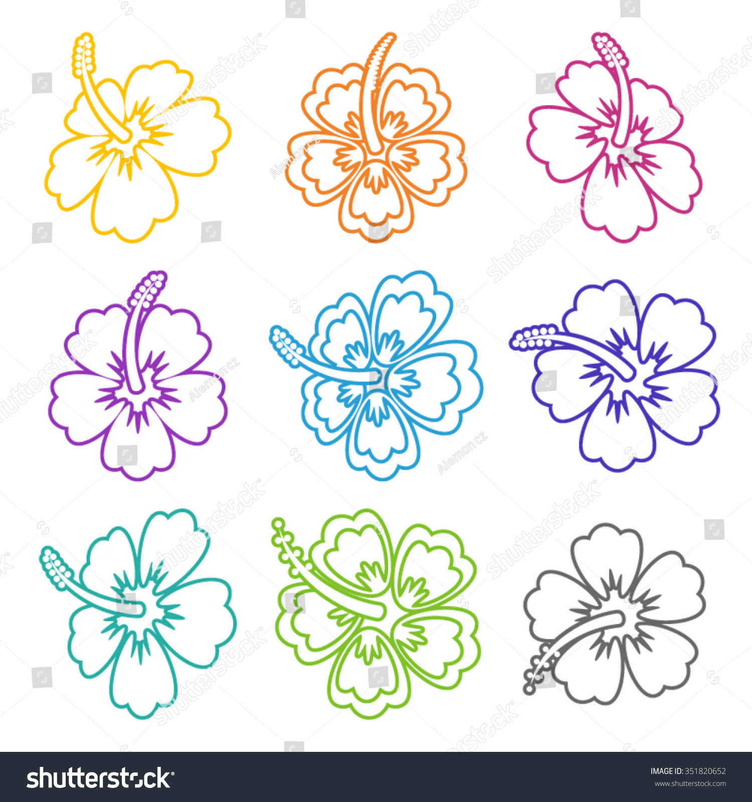 Colorful Vector Hibiscus Flower Outline Icons Stock Vector Royalty