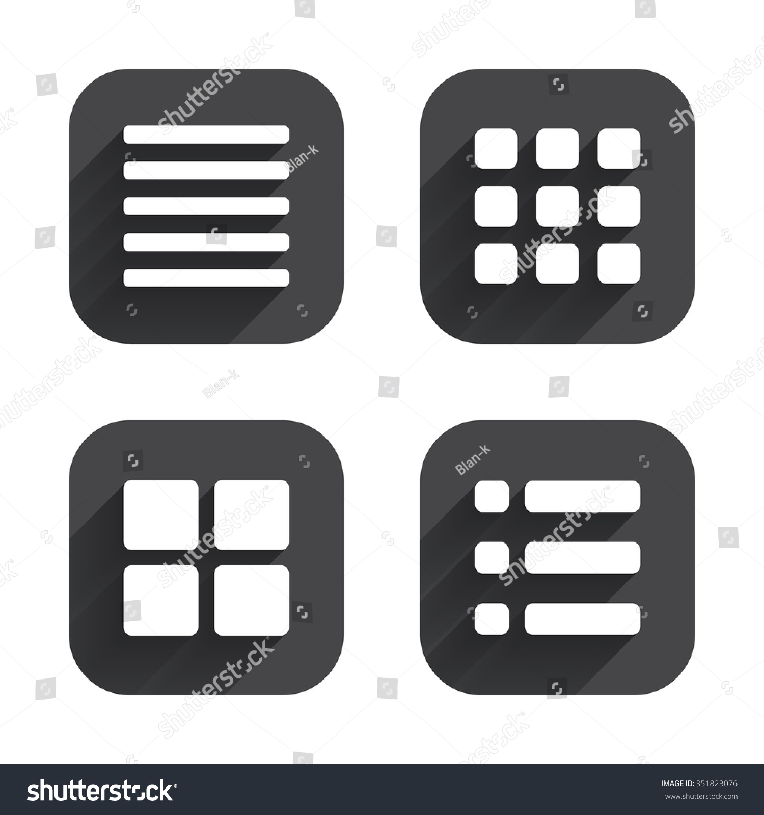 List menu icons...