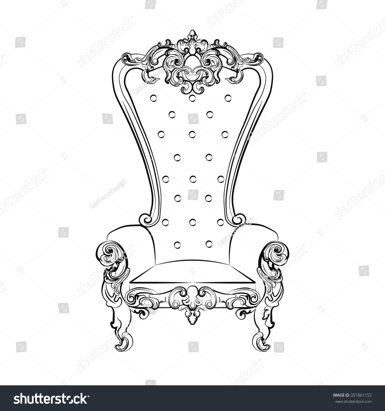 Rococo furniture sketch - Baroque Royal Armchair With Luxurious Ornaments Vector Sketch