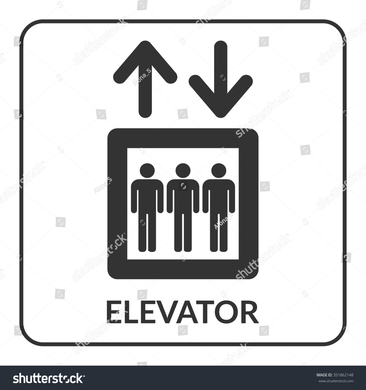 Elevator Icon Lift Symbol Stairs Down Stock Vector Royalty Free