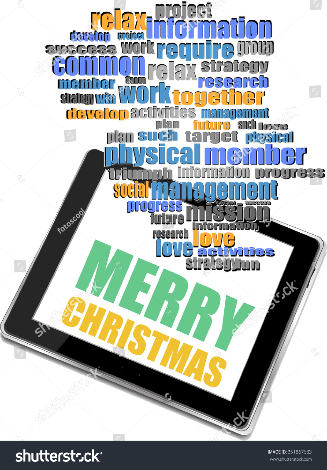 Smart Phone Merry Christmas Greetings On Stock Vector 351867683