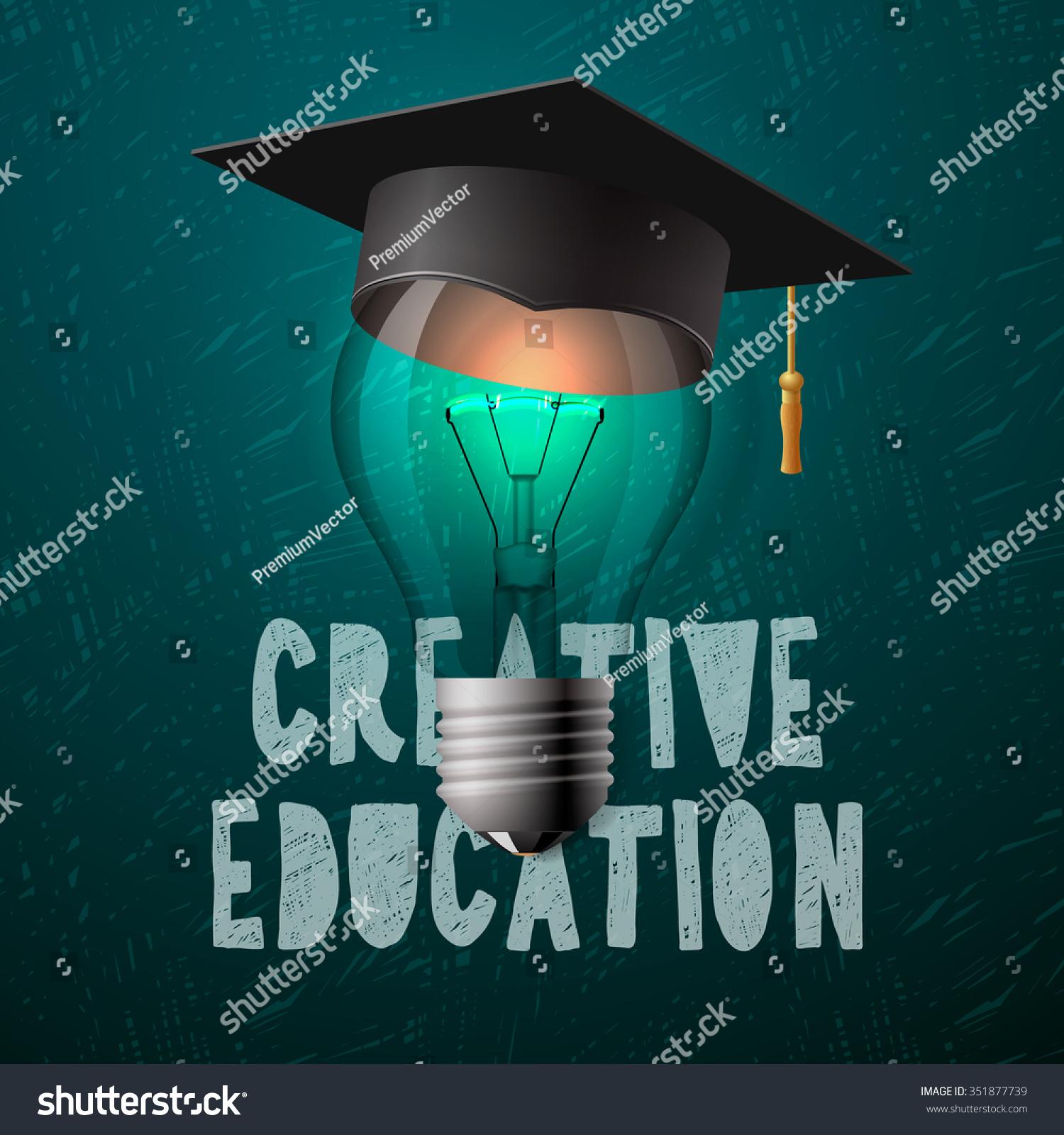 Creative Education Design Light Bulb Mortarboard Stock Vector