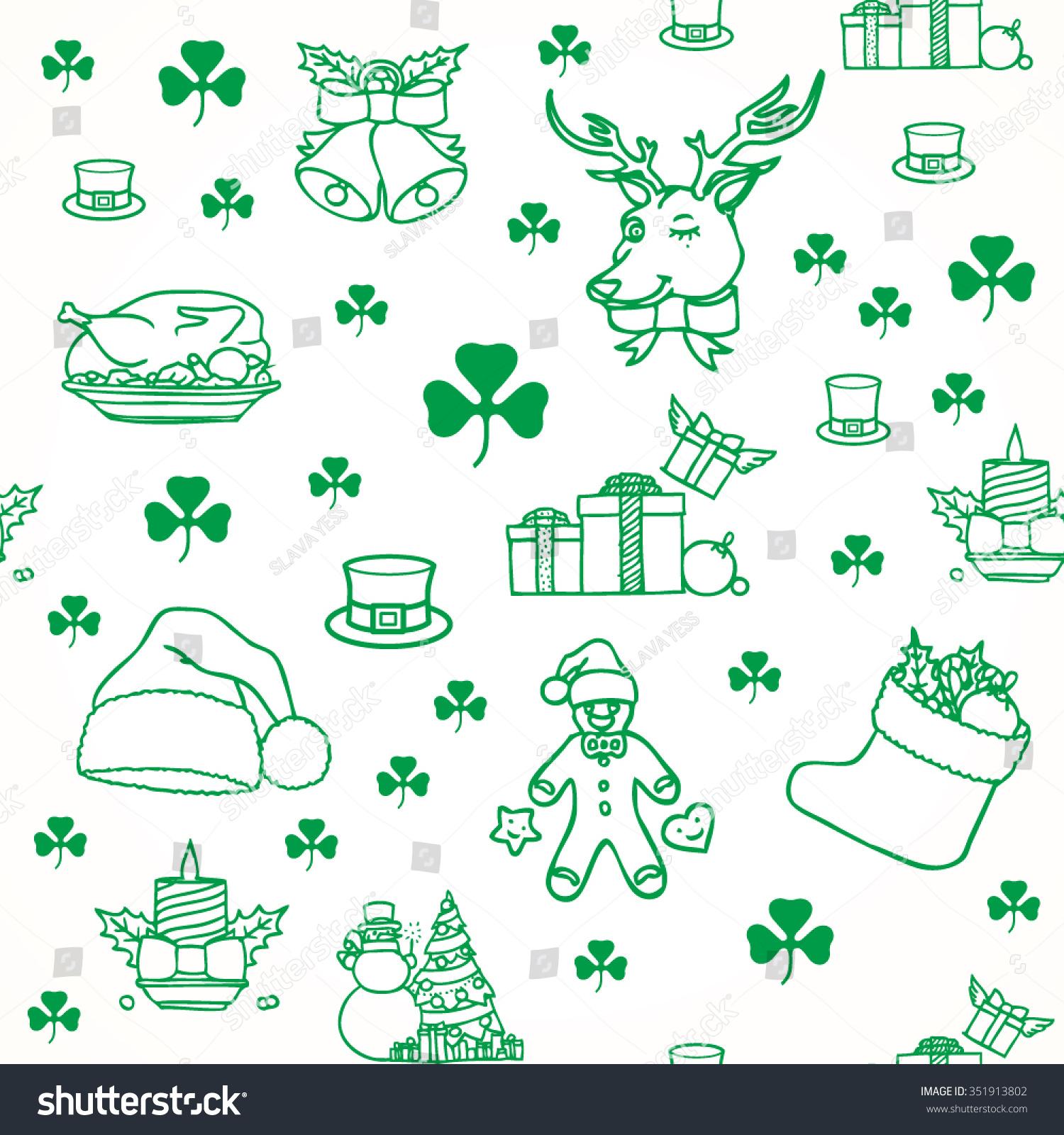Irish Christmas Seamless Background Stock Vector 351913802 ...