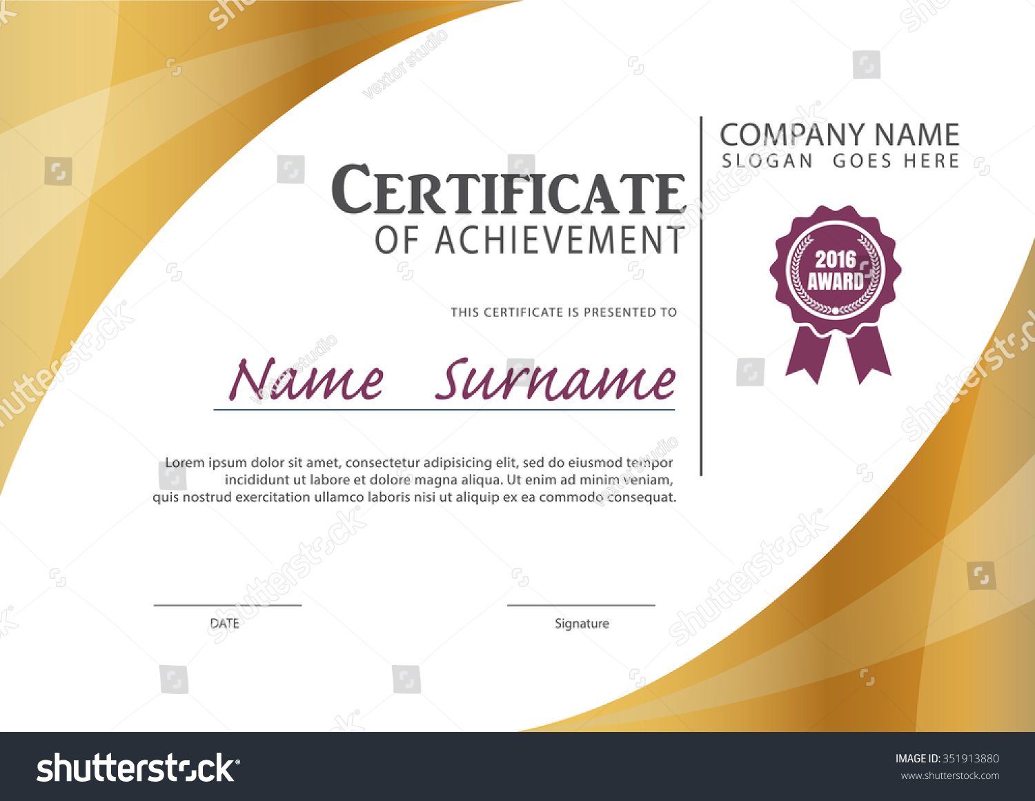 Certificate Templatediploma Layout A 4 Size Vector Stock Vector