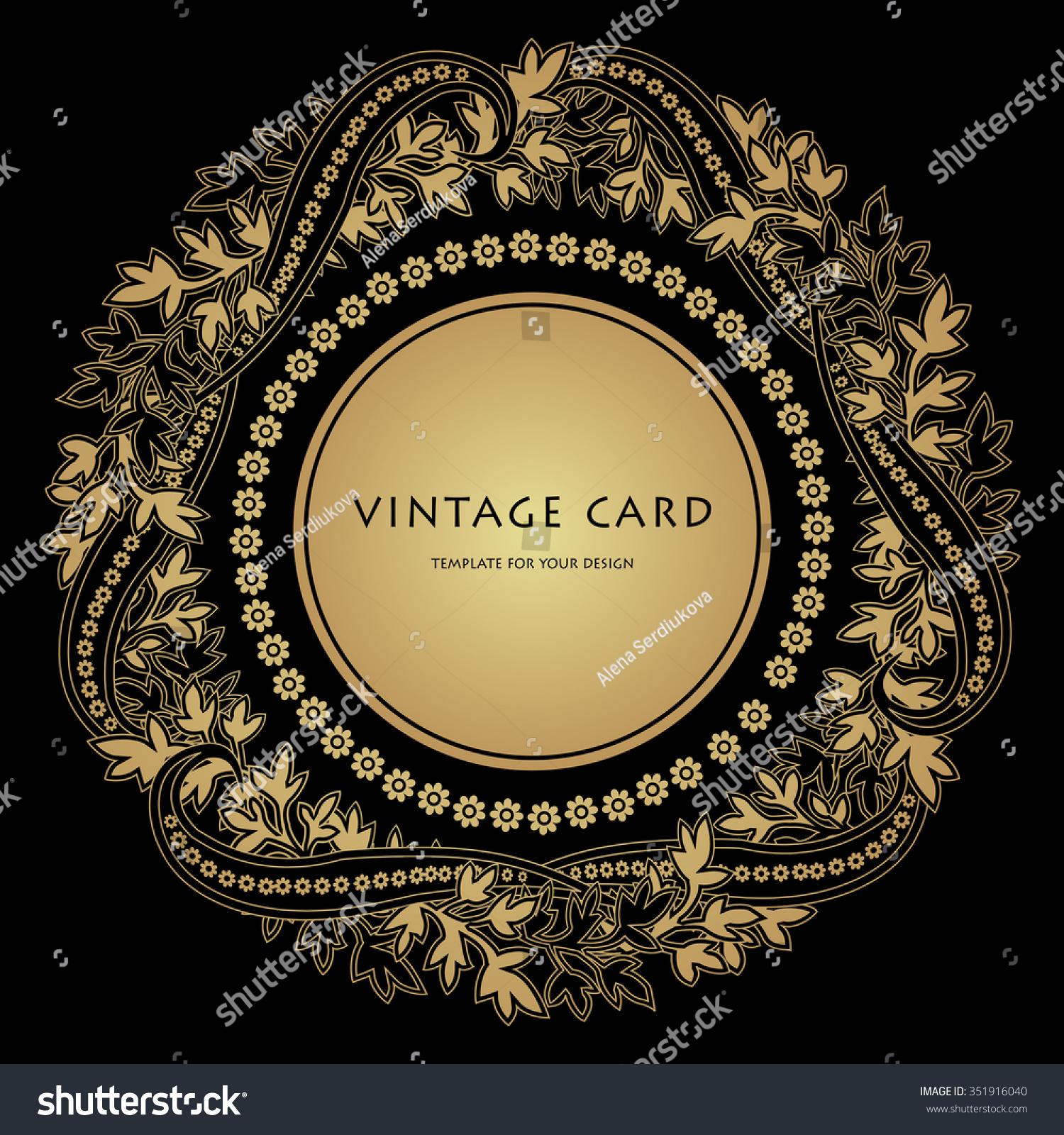 Gold Black Filigree Frame Round Ornament Stock Vector (Royalty Free ...