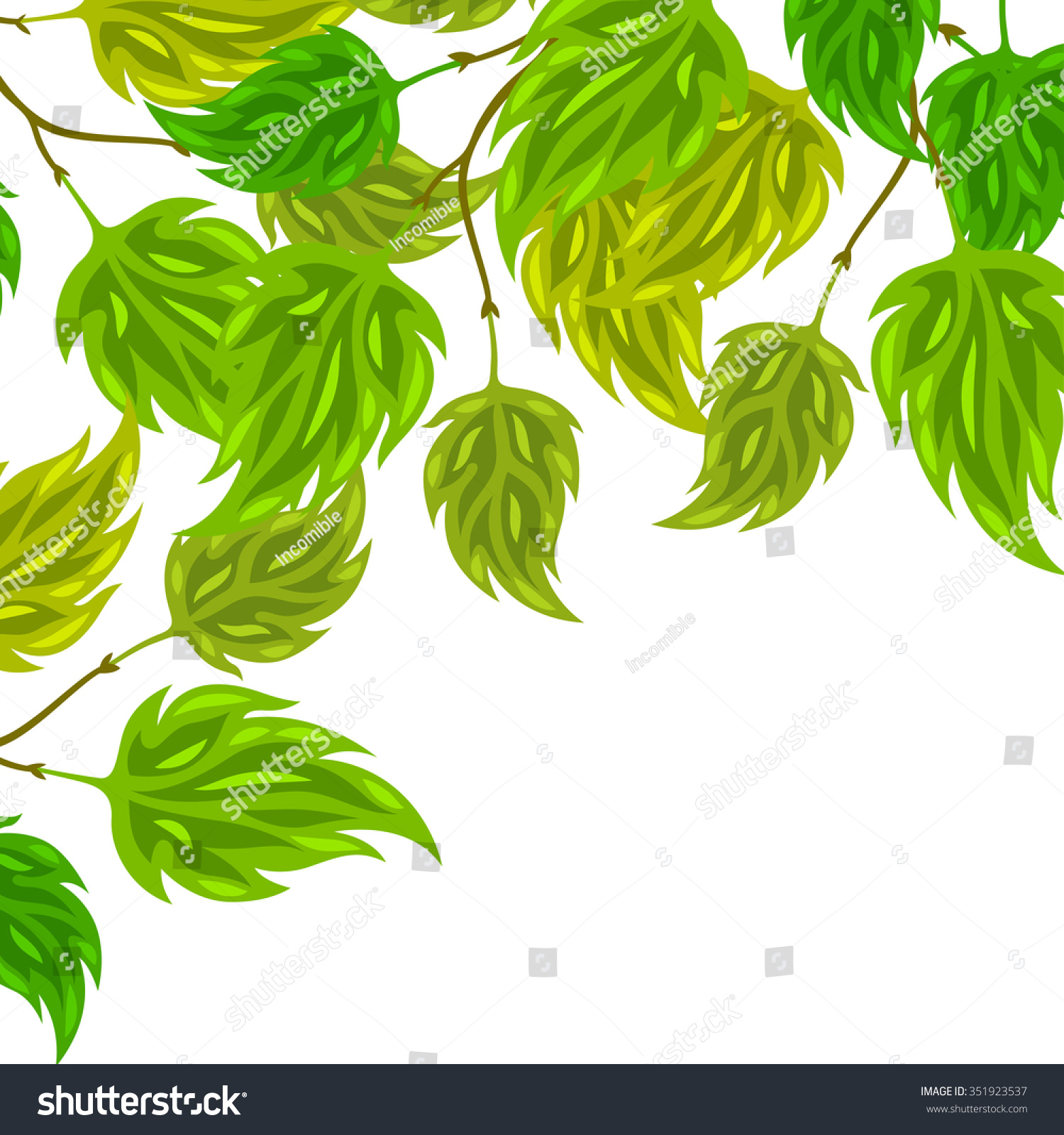 Background Stylized Green Leaves Greeting Cards Stock Vector