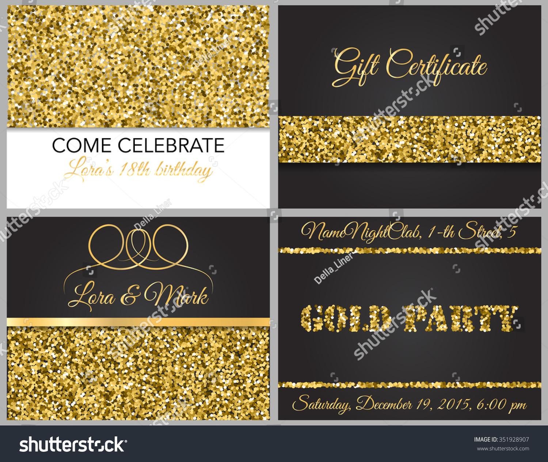 Luxurious Invitation Cards Party Wedding Birthday Stock Vector