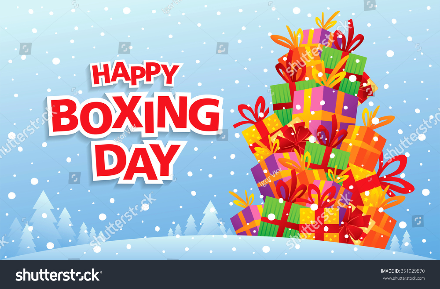 Happy Boxing Day Vector Illustration Stock Vector Royalty Free