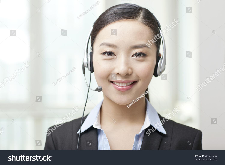 Female office worker wearing headsetportrait stock photo 351944909 shutterstock - Office portrait photography ...