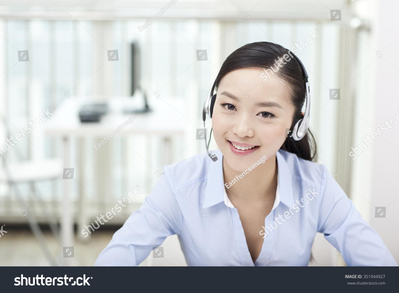 Female office worker wearing headsetportrait stock photo 351944927 shutterstock - Office portrait photography ...
