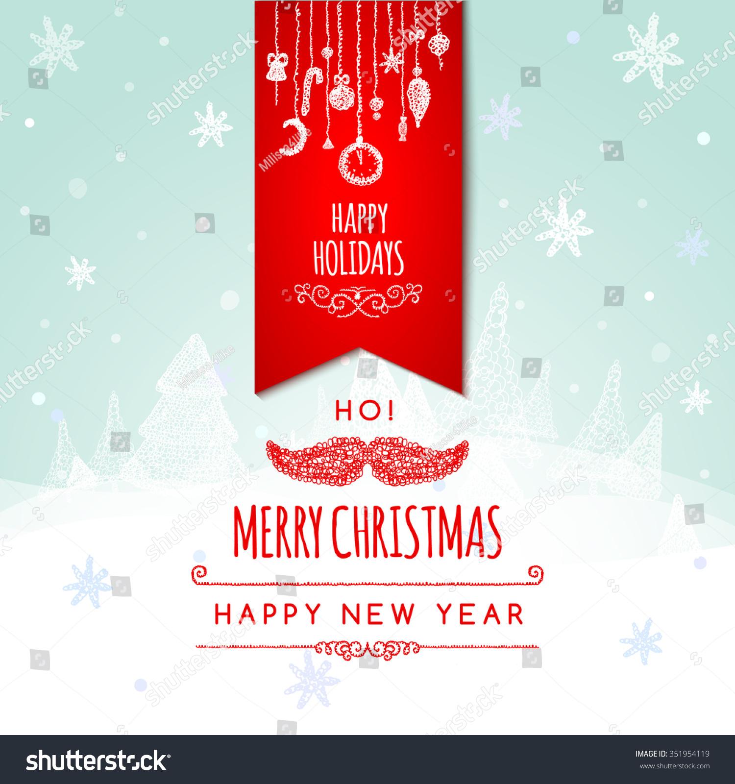 Merry christmas holiday greeting design santa stock illustration merry christmas holiday greeting design with santa claus mustache and christmas tree background illustration kristyandbryce Gallery