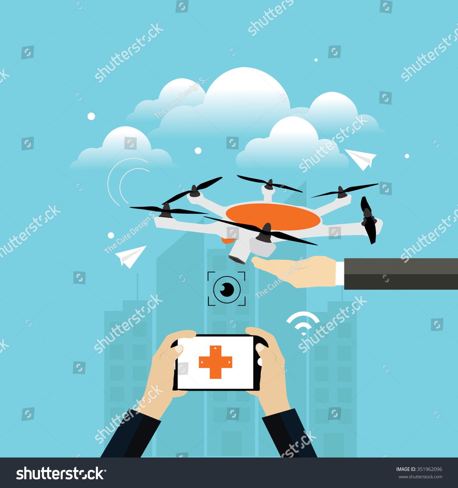 Drone Flying On Blue Sky Flat Stock Vector (Royalty Free