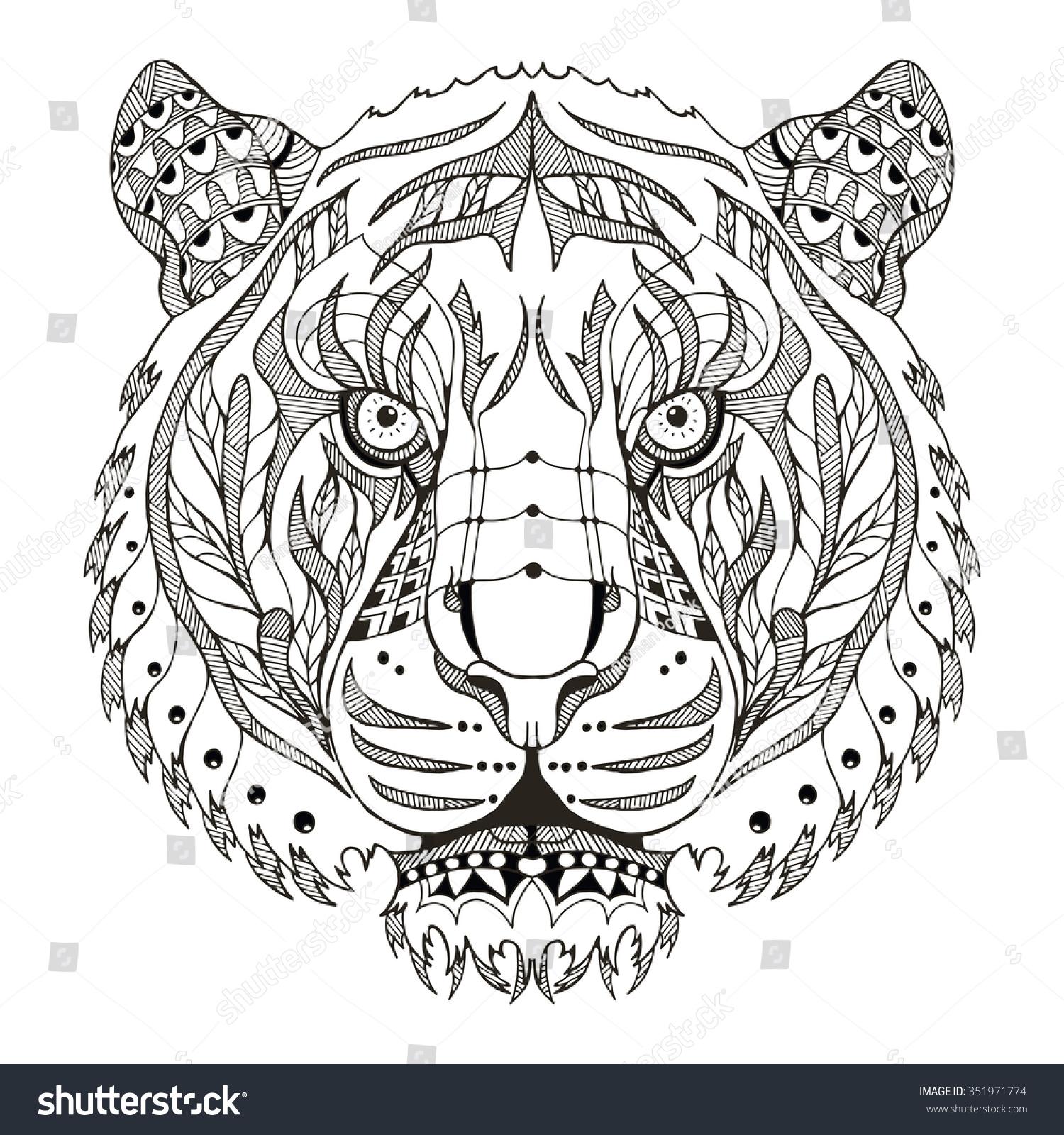 tiger zentangle stylized vector illustration stock
