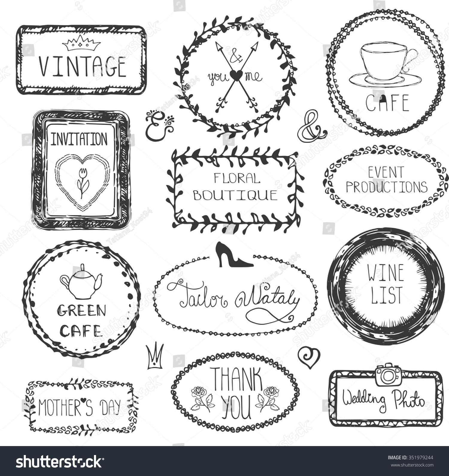 Doodle Vector Frames Logotype Set Hand Drawn Stock Vector (Royalty ...