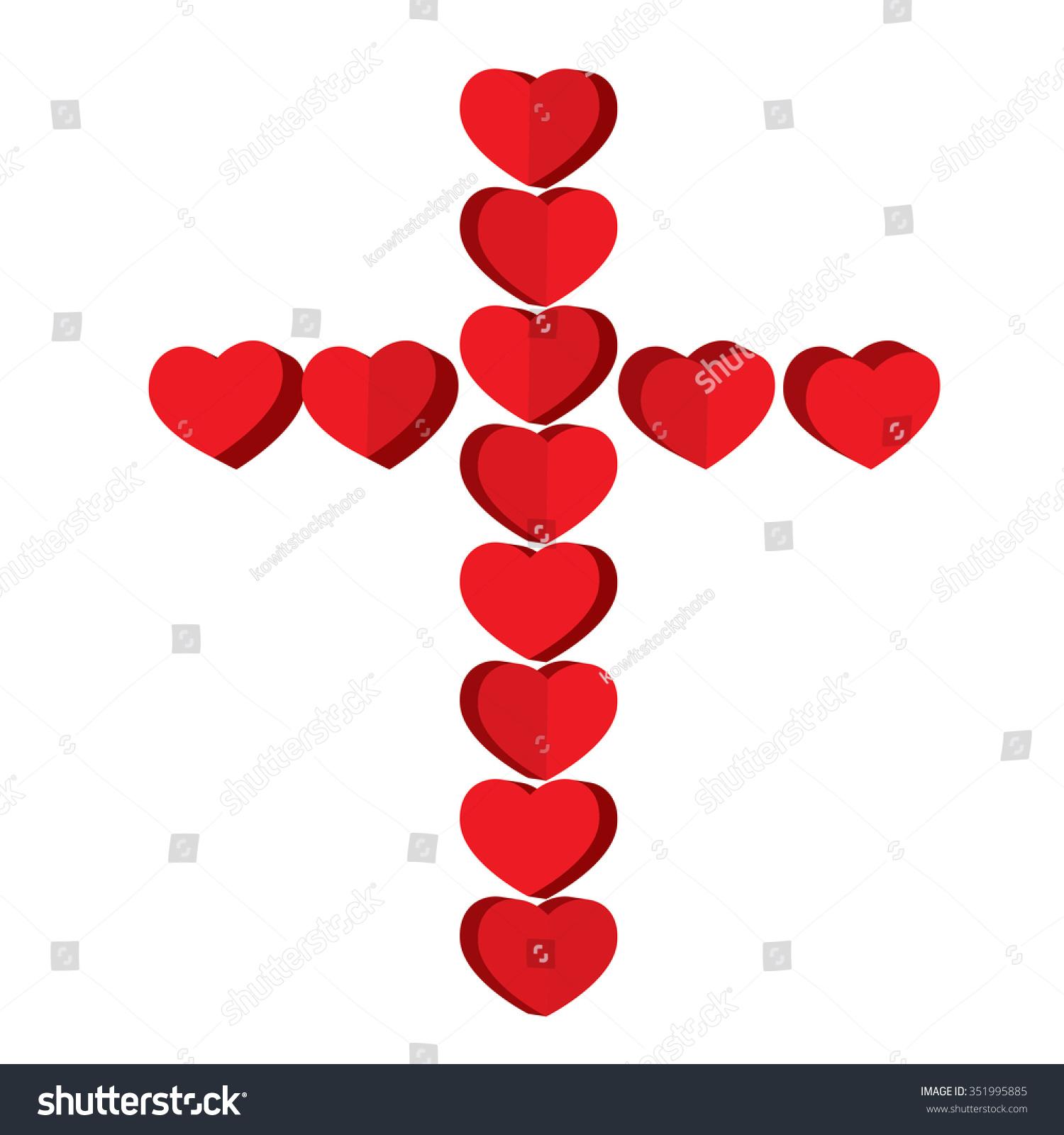 The Heart Is The Cross Jesus: Vector. - 351995885 : Shutterstock