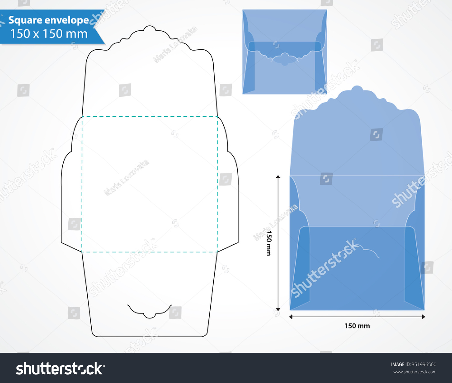 Square Envelope Layout Template Original Flap Stock Vector Royalty