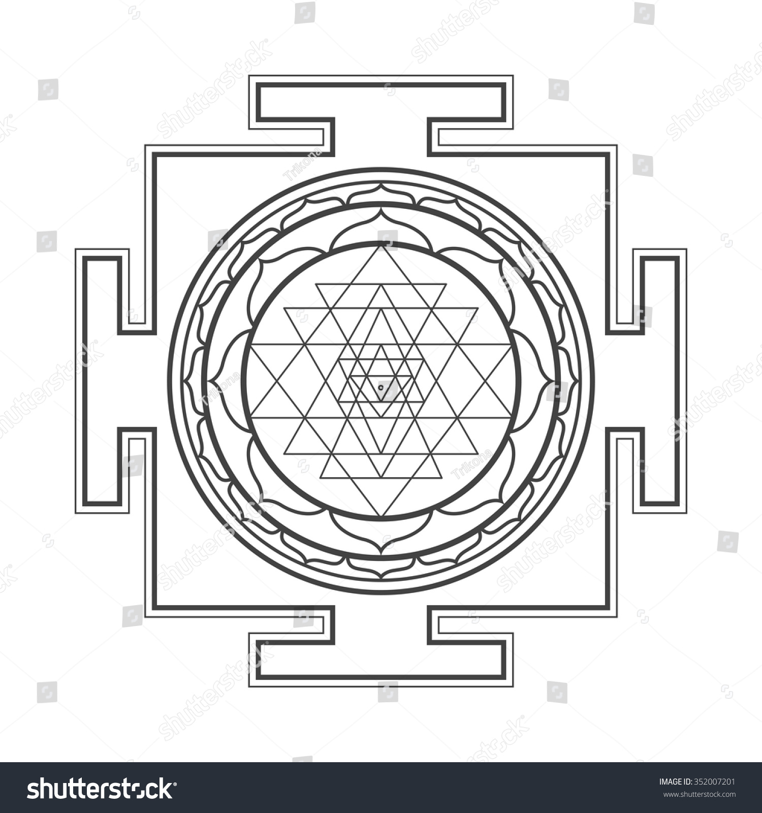 Vector Black Outline Hinduism Sri Yantra Stock Vector