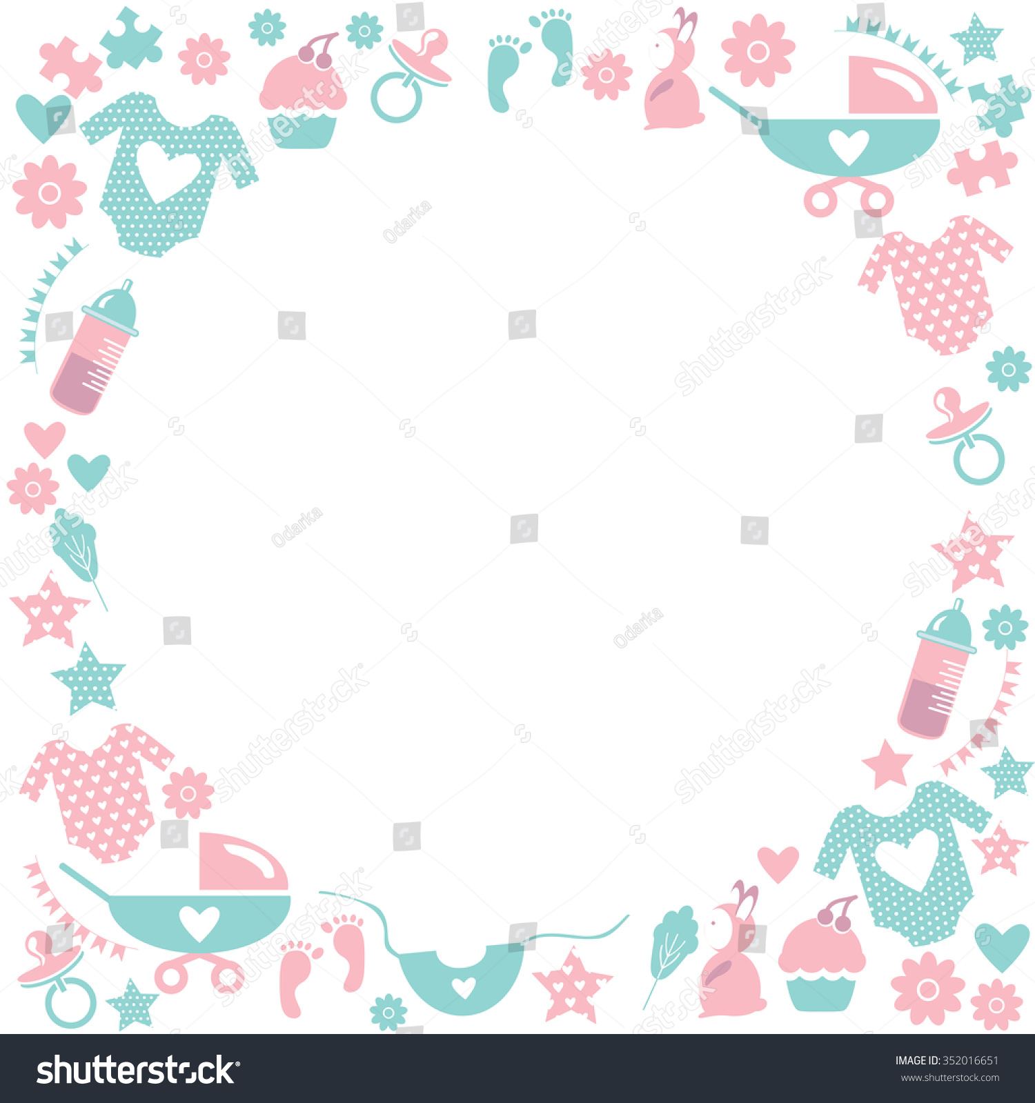 Card for baby shower with babies accessories baby clothes baby