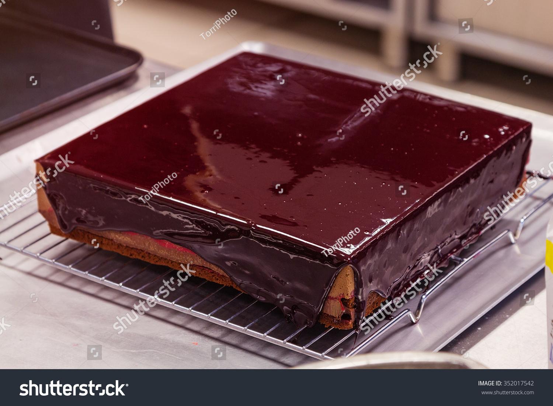 Square Chocolate Mousse Cake Currant Glaze Stock Photo (Edit Now