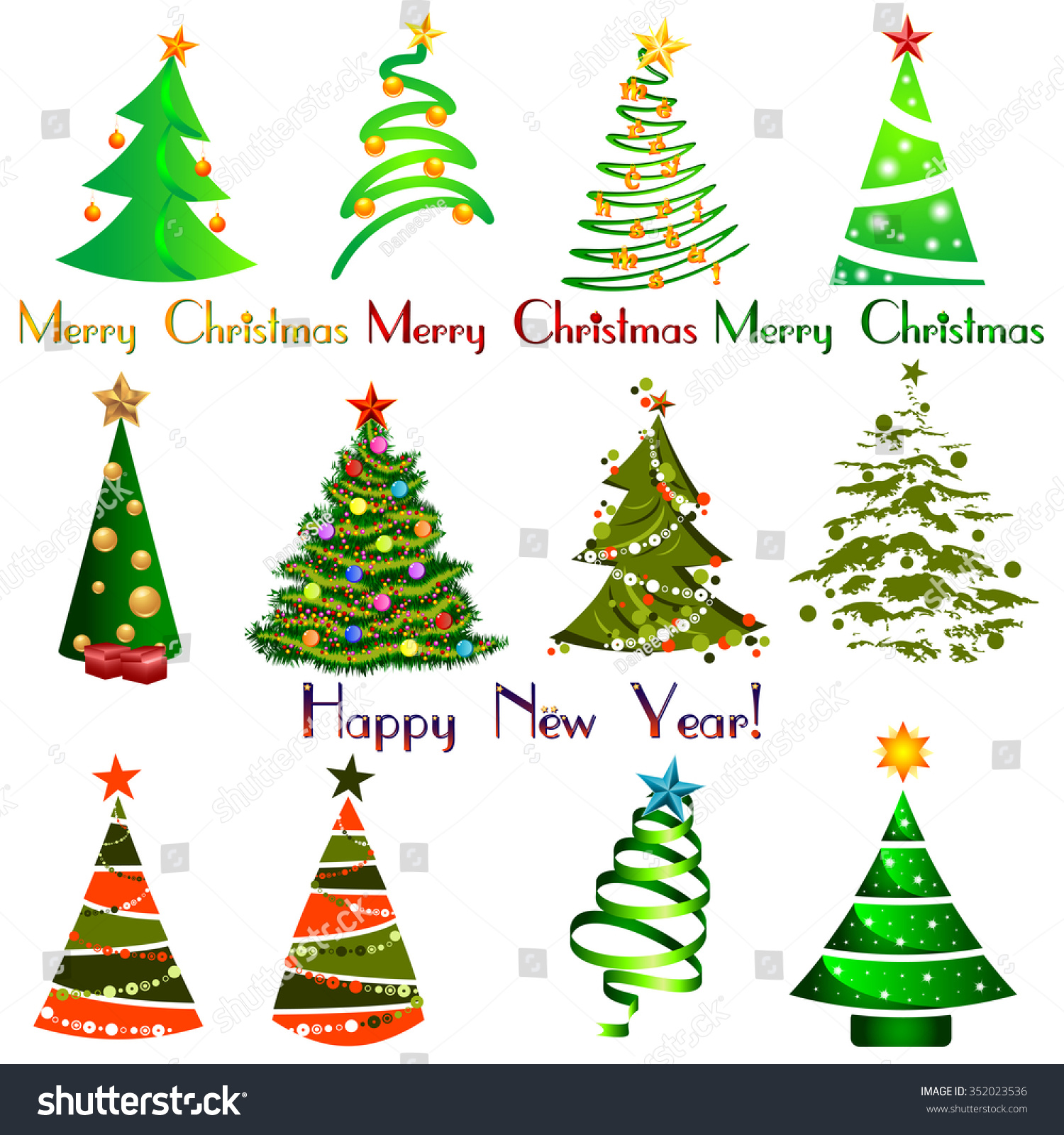 Set Different Elegant Christmas Trees Design Stock Vector (Royalty ...