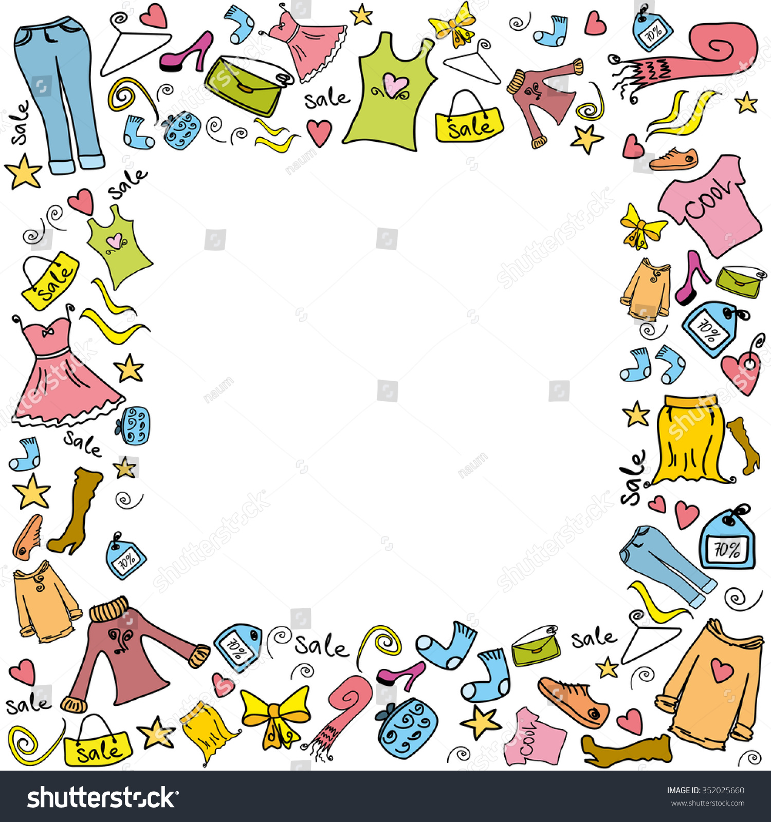 Sale Fashion Shopping Background Frame Clothes Stock Vector Royalty Free 352025660