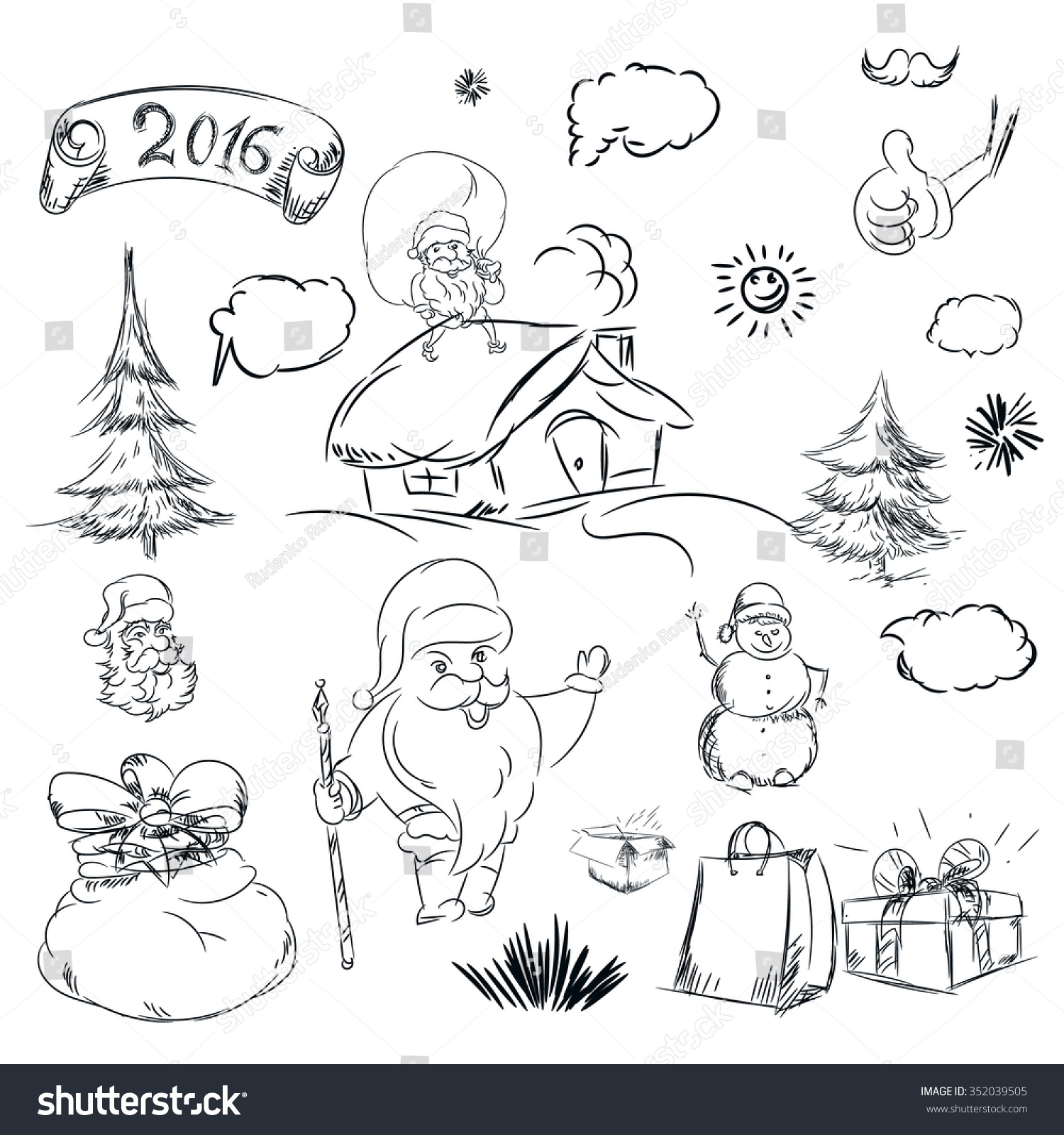 Uncategorized Christmas Pencil Drawings pencil sketch christmas tree house stock illustration for with and hand drawn scribble shapes santa