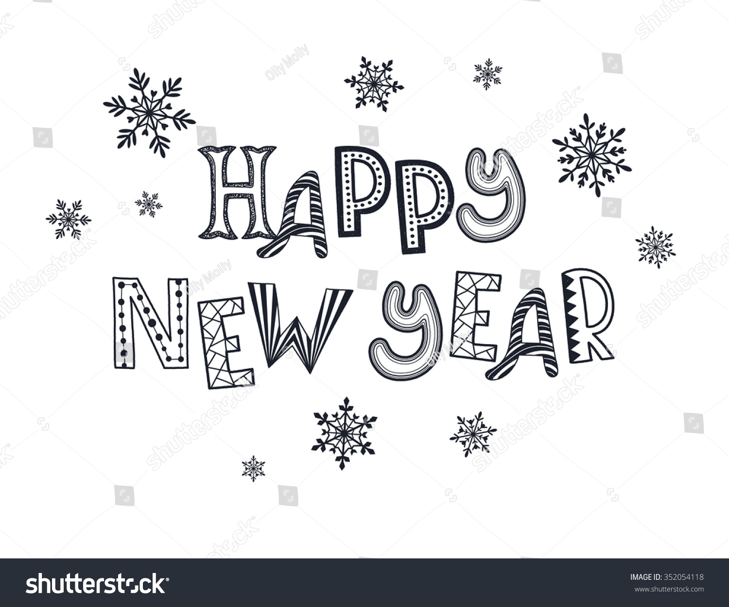 Happy New Year Postcard Template Winter Stock Vector (Royalty Free ...