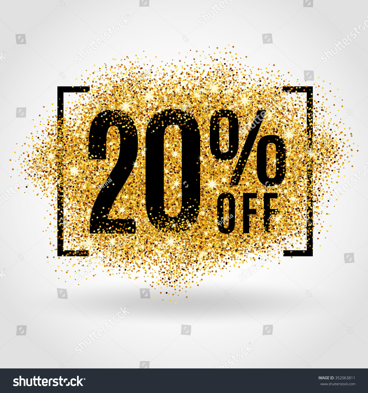 Gold sale 20 percent on gold background gold sale for 20 images