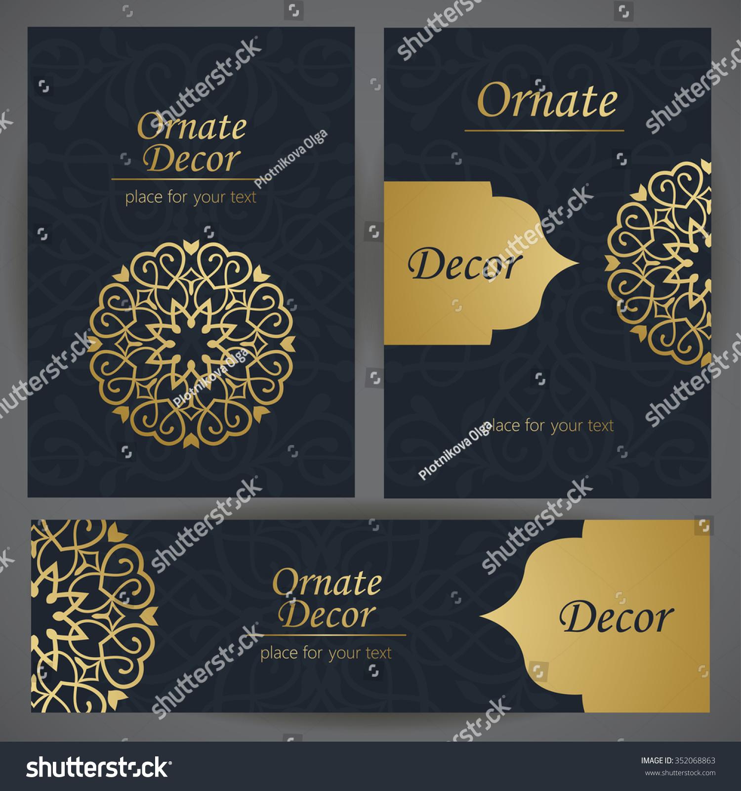 Golden Decor Template Frame Greeting Card Stock Vector
