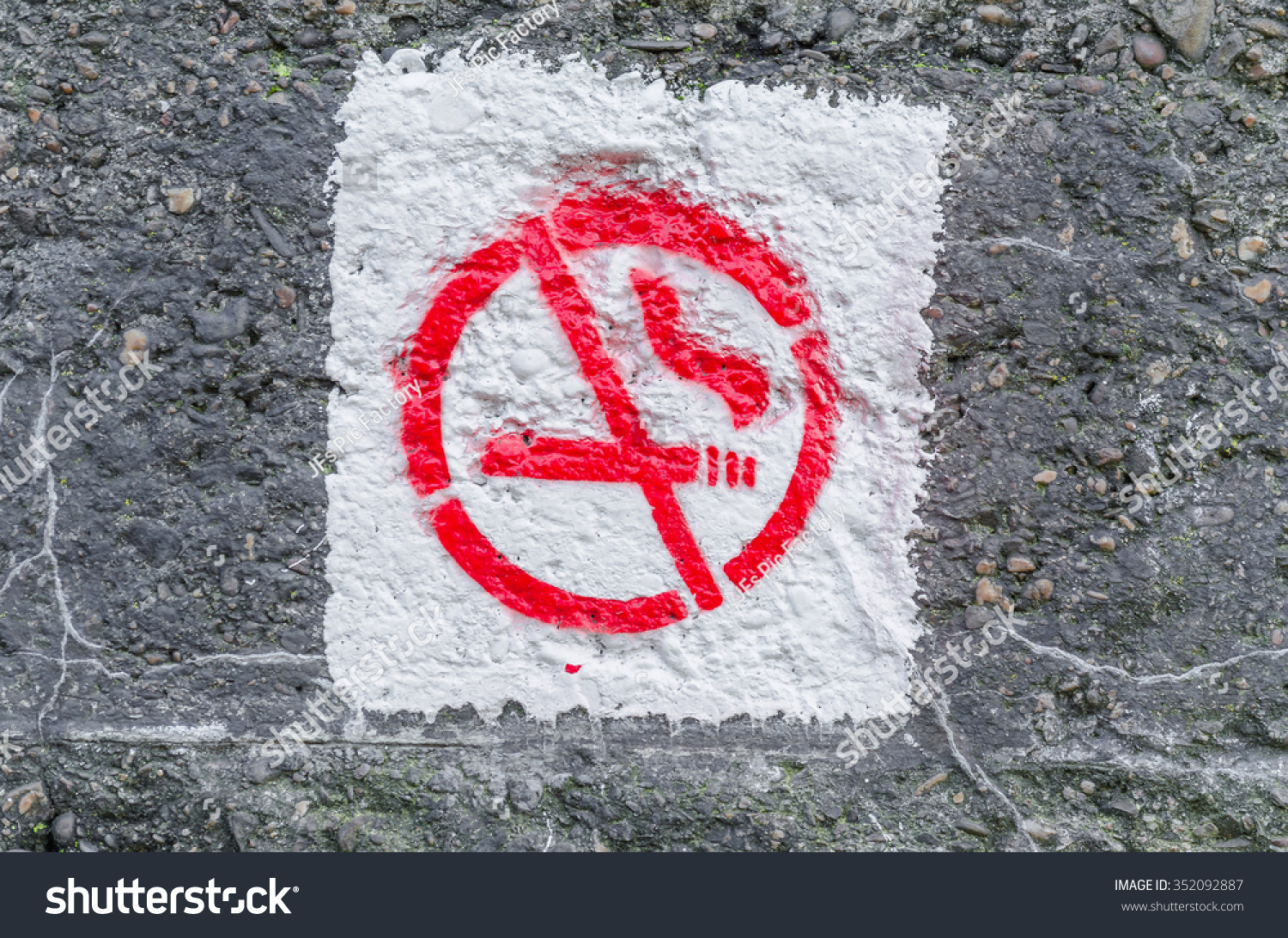 No smoking symbol sprayed on ancient stock photo 352092887 no smoking symbol sprayed on an ancient concrete wall buycottarizona Images