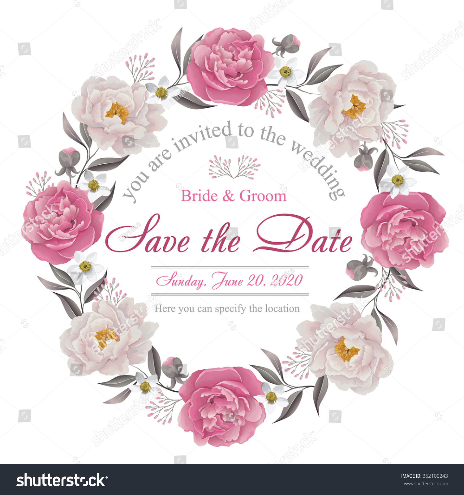Save The Date Wedding Floral Ornament Wedding Floral: Flower Wedding Invitation Card Save Date Stock Vector