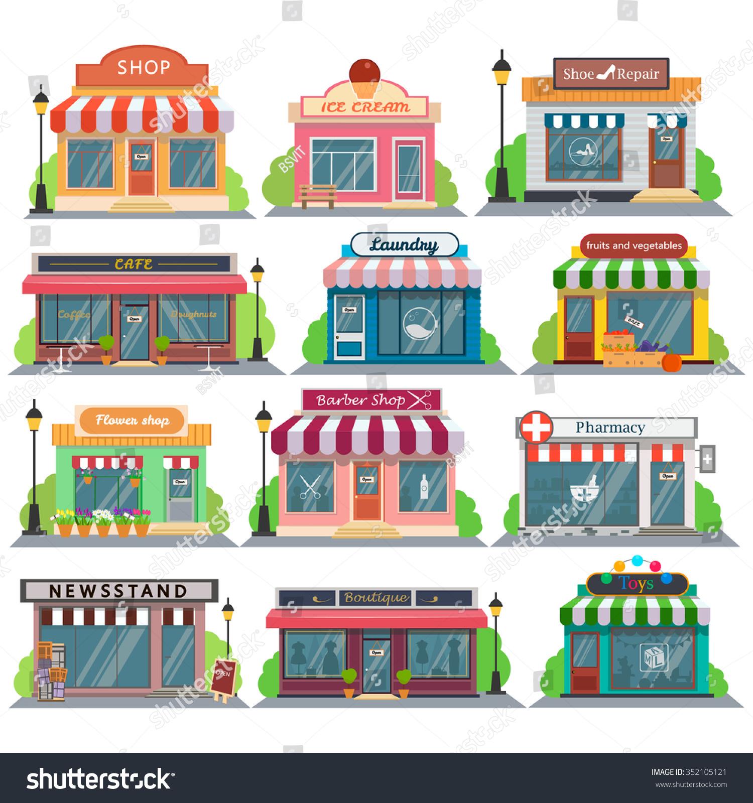 Set Vector Flat Design Restaurants Shops Stock Vector