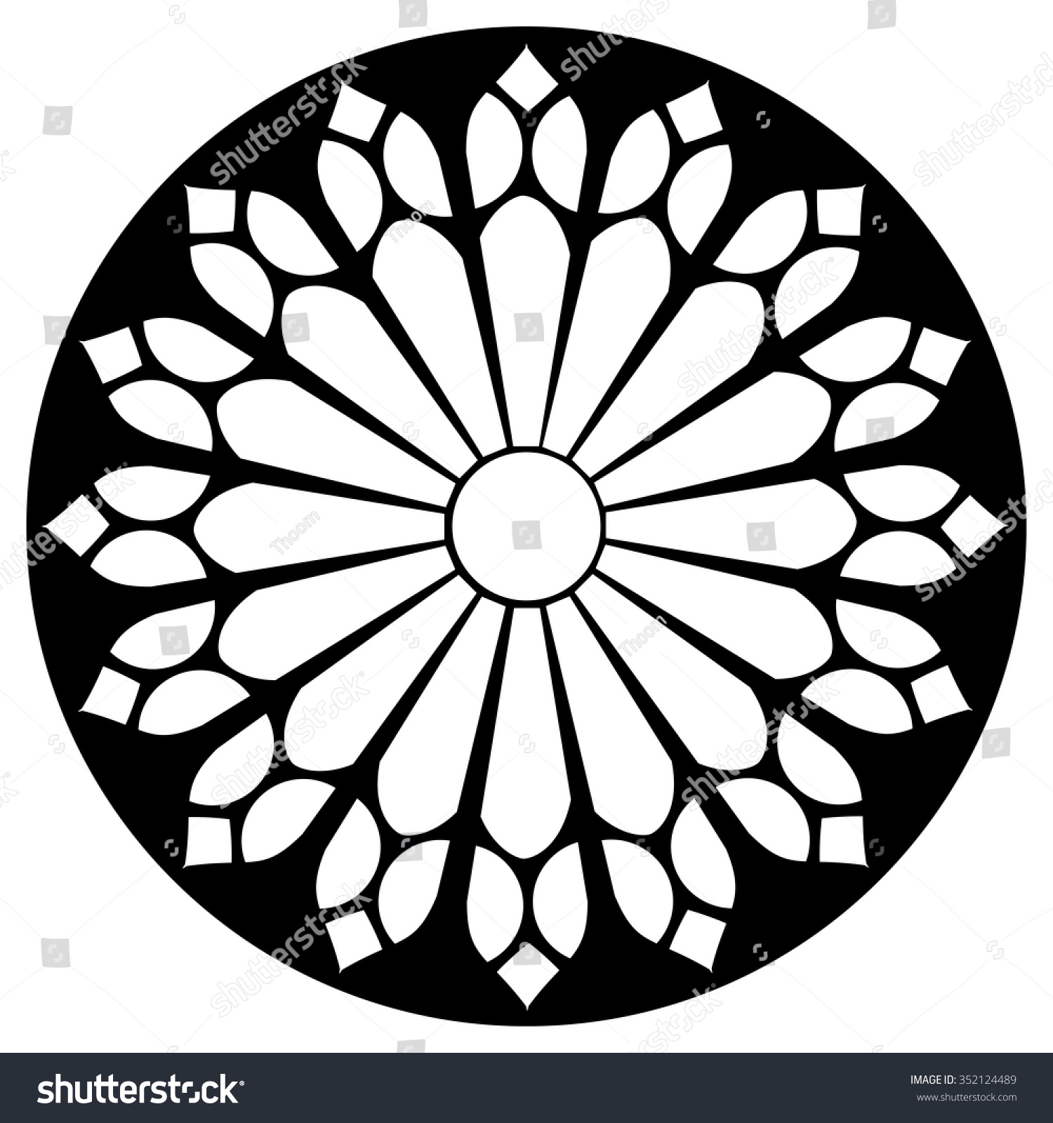 Gothic rosette window pattern vector black stock vector for Window design template