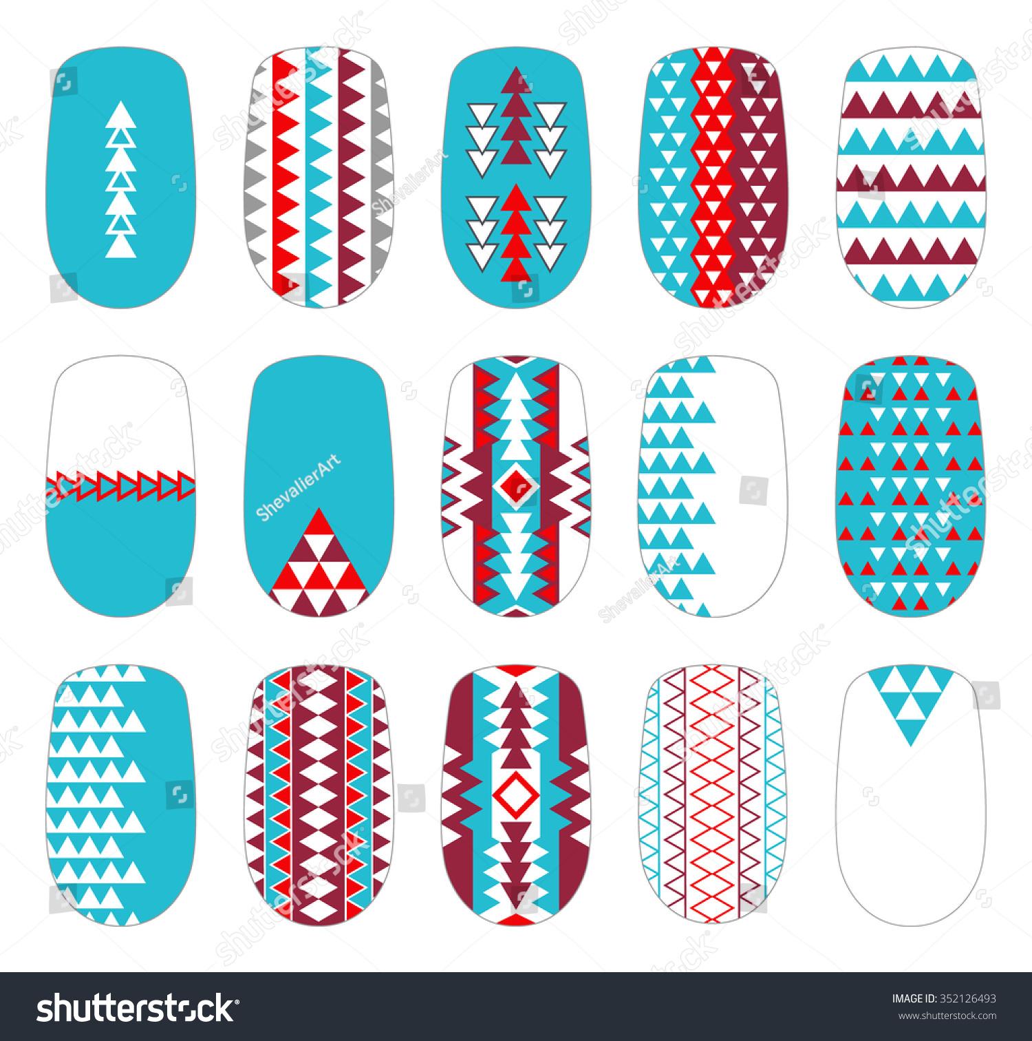 Nail Art Vector: Nail Art Colorful Geometric Templates. Manicure Design Set
