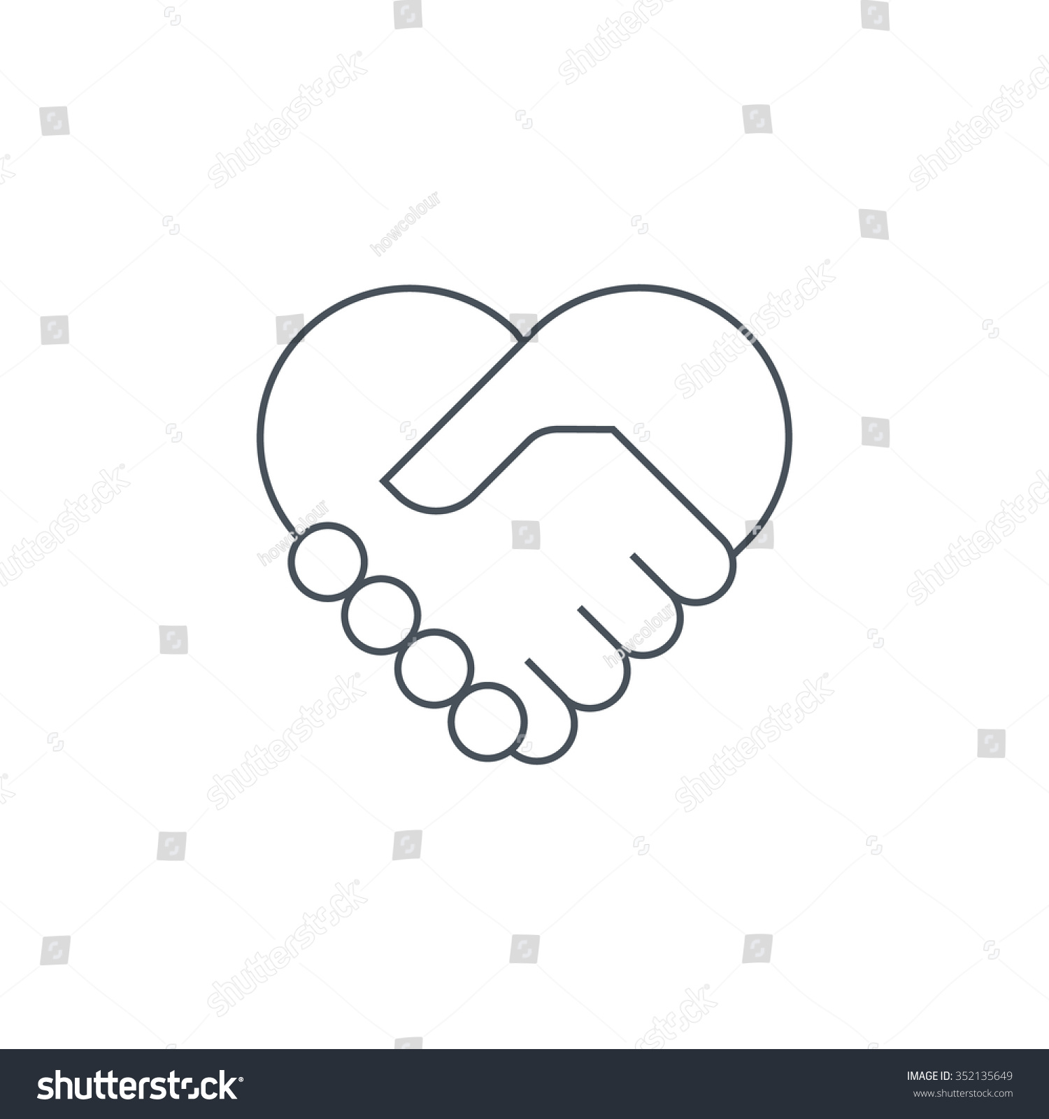 Hand Shake Icon Suitable Info Graphics Stock Vector 352135649 ...